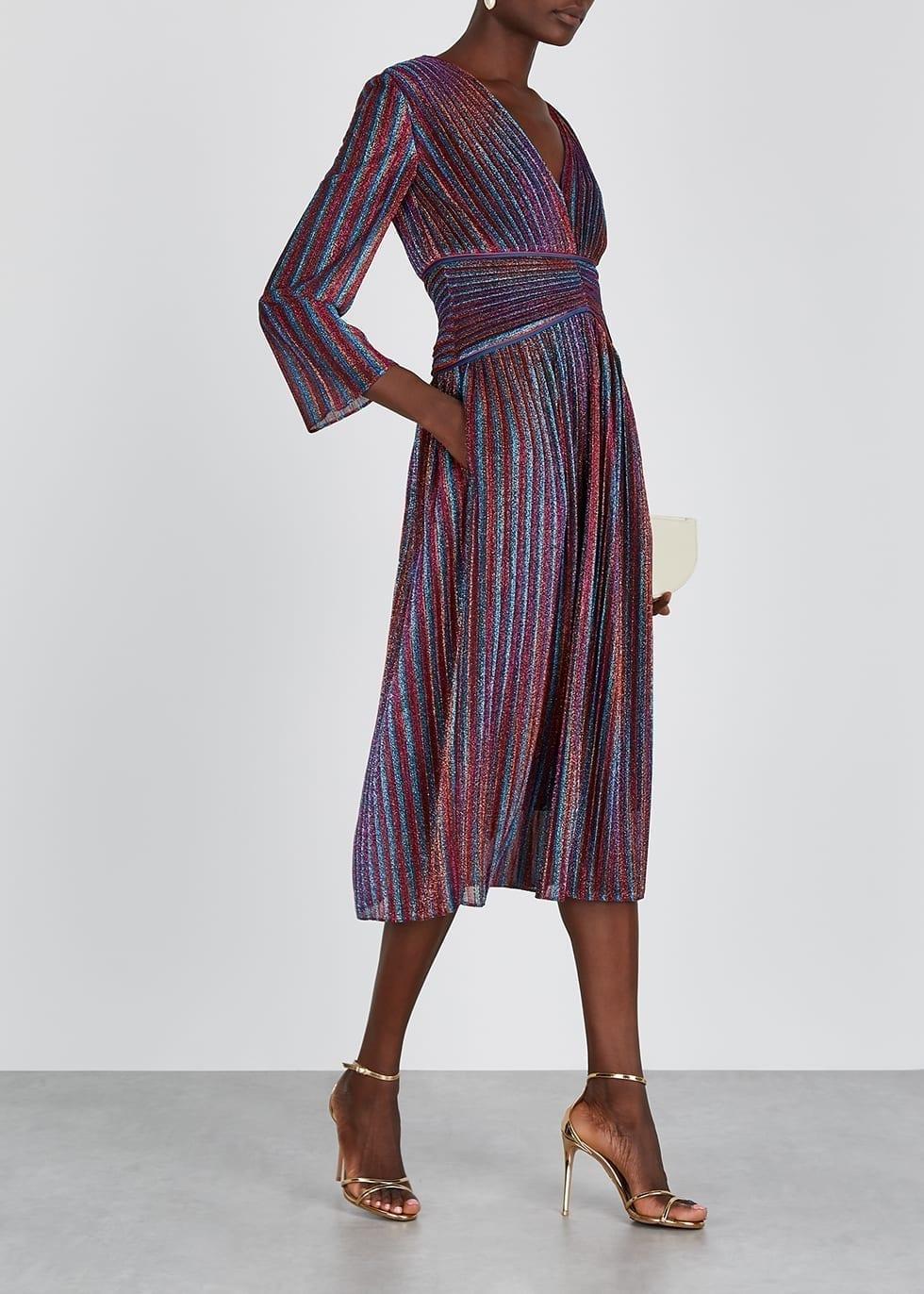JONATHAN SIMKHAI Striped Metallic-knit Plissé Midi Dress
