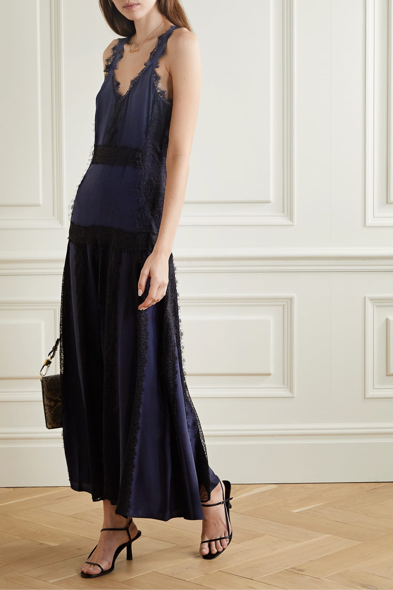 LA LIGN Emaggie Lace-trimmed Silk-georgette Maxi Dress