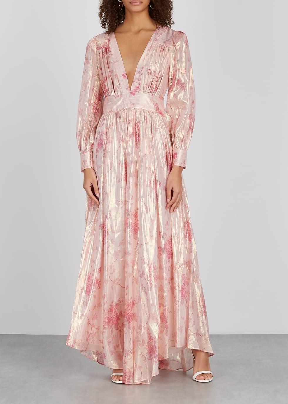 LOVESHACKFANCY Cyrene Floral-print Lamé-weave Maxi Dress