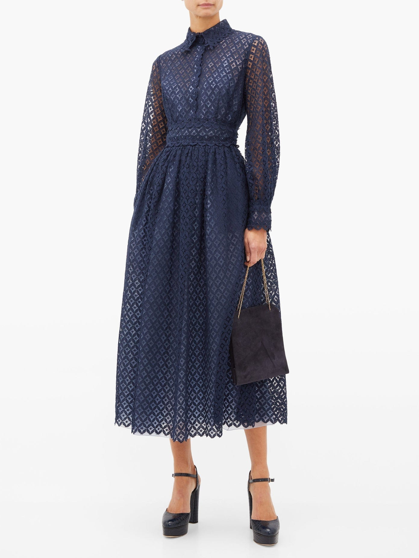 LUISA BECCARIA Peter Pan Collar Lace Maxi Dress