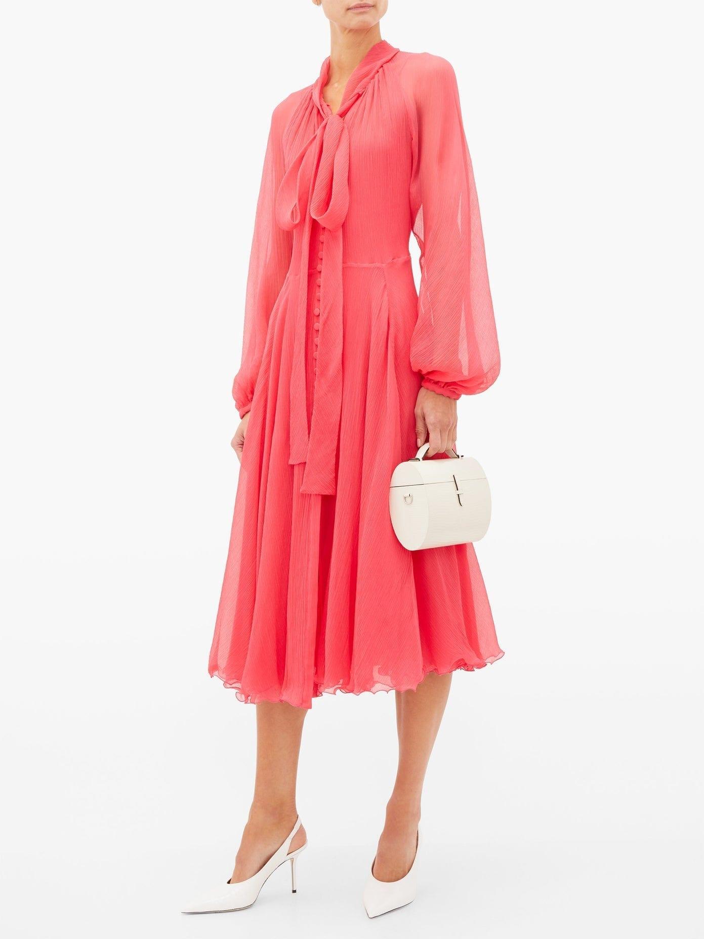 LUISA BECCARIA Pussy-bow Silk Plissé-chiffon Midi Dress