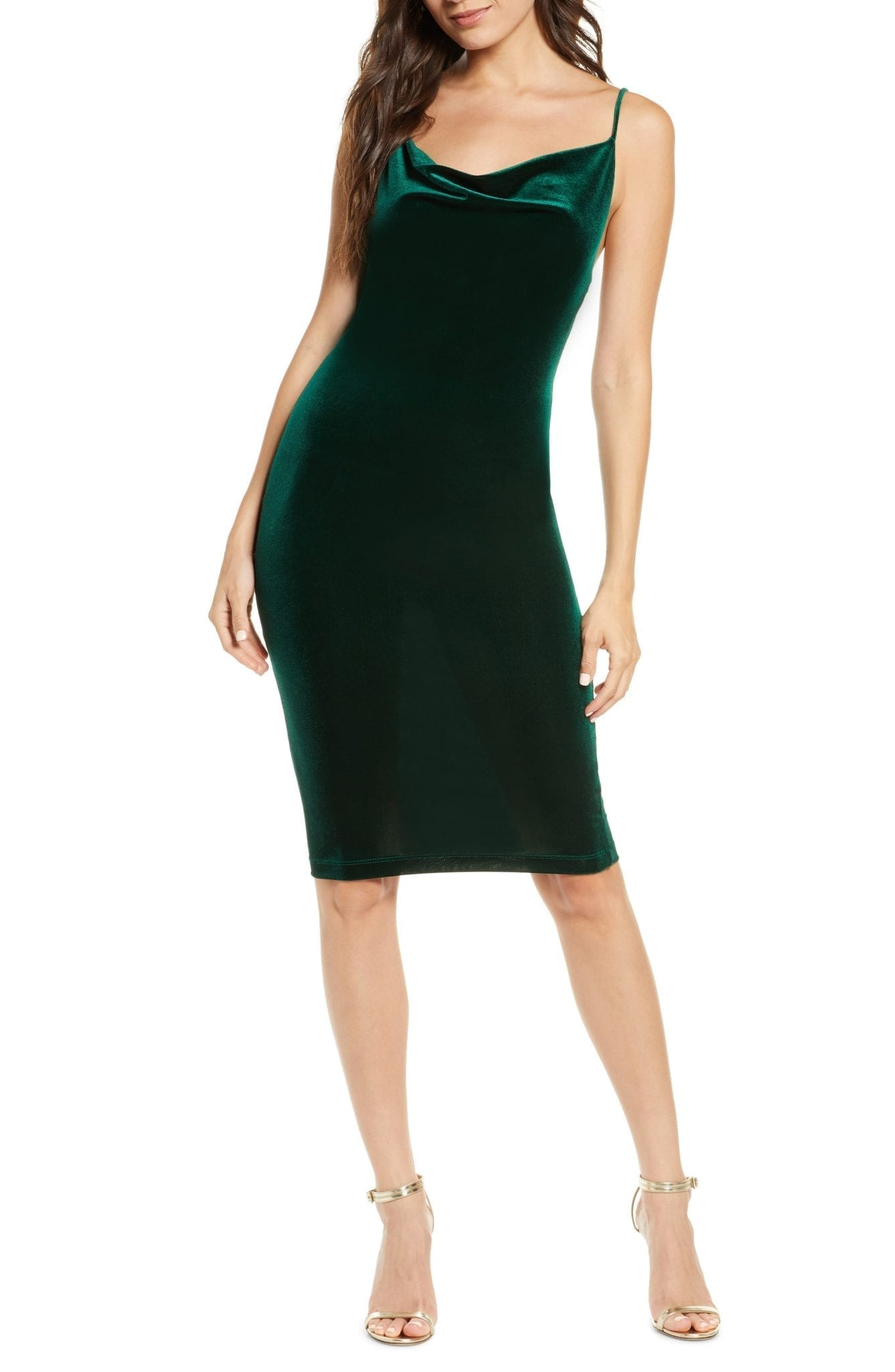 LULUS Jazzy Belle Cowl Neck Velvet Cocktail Dress
