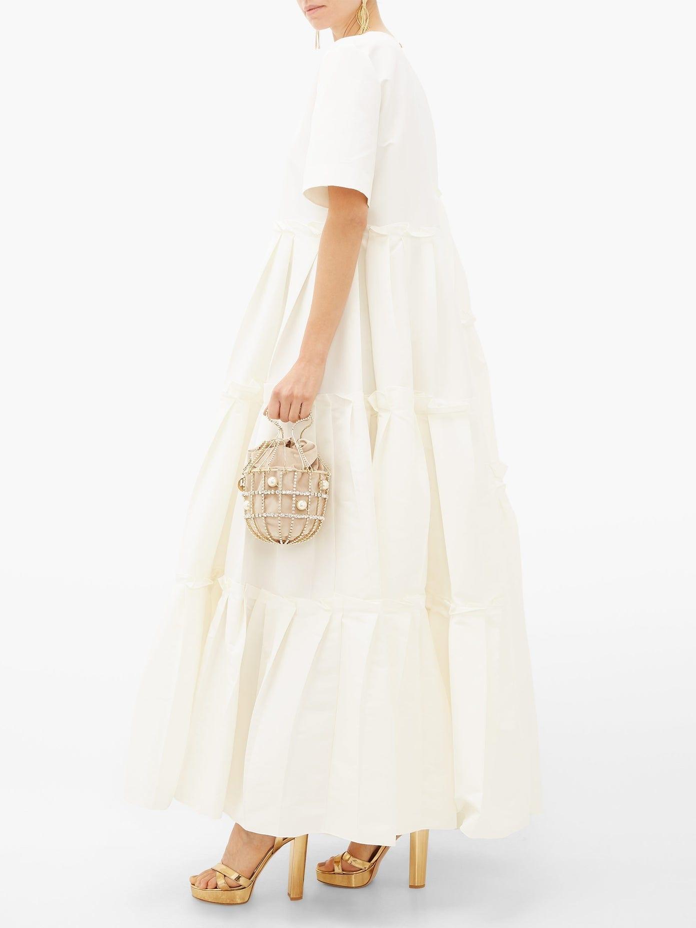 MAISON RABIH KAYROUZ Asymmetric-Pleat Faille Gown