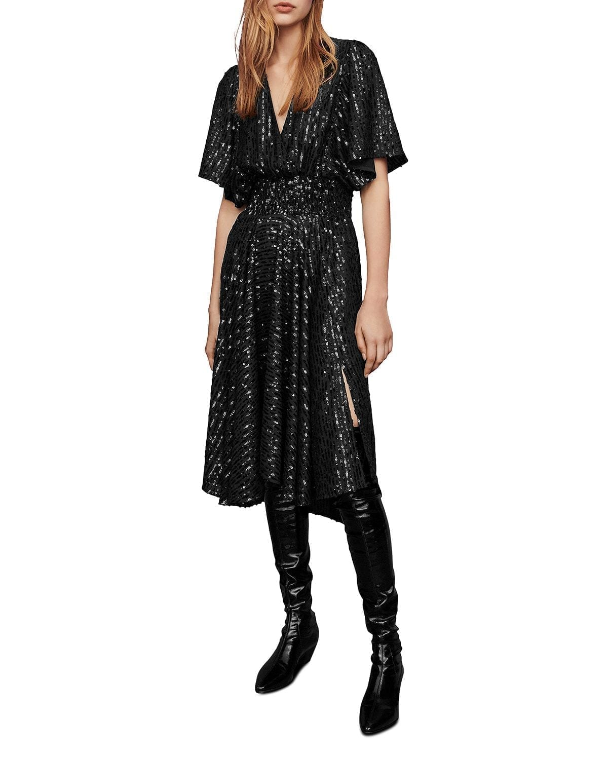 MAJE Ring Sequined Midi Dress