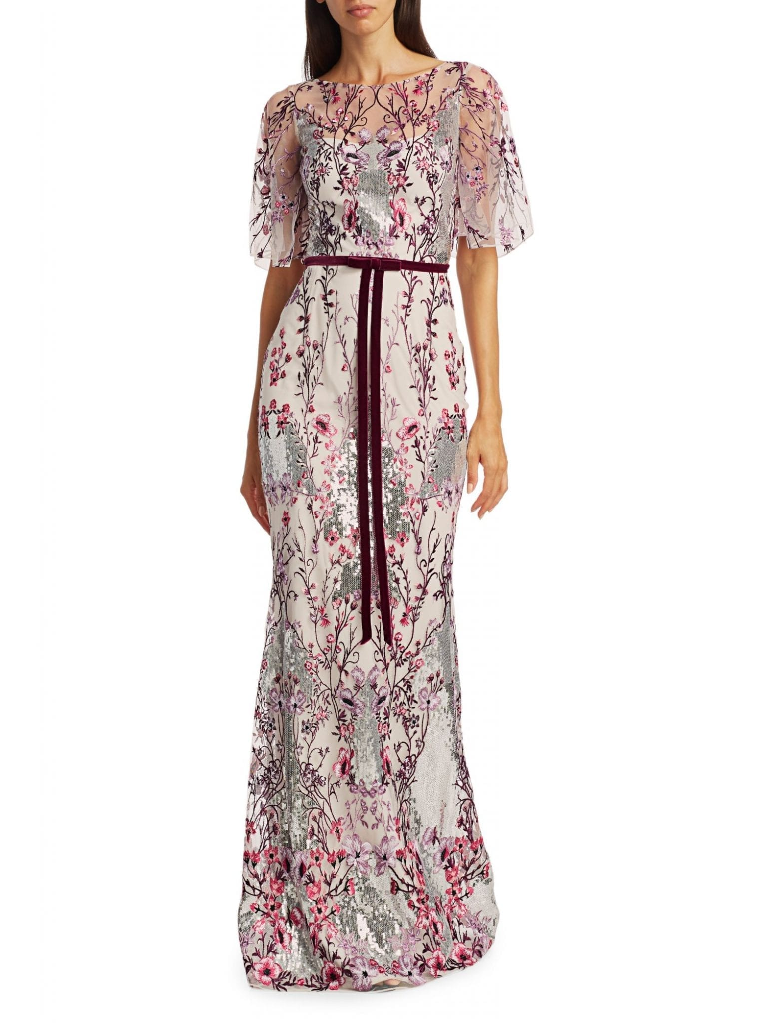 MARCHESA NOTTE Embellished Floral-Embroidered Gown