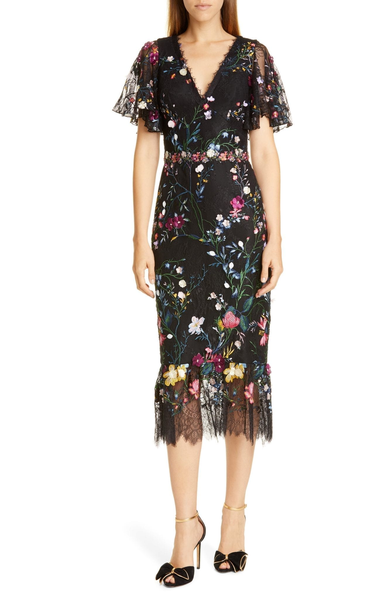MARCHESA NOTTE Embroidered Flutter Sleeve Lace Cocktail Dress