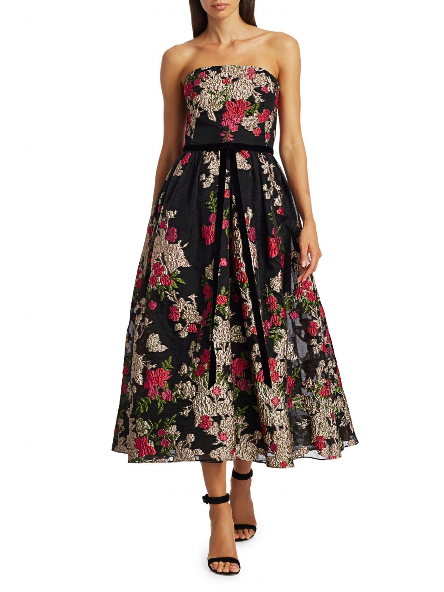 MARCHESA NOTTE Floral Cocktail Dress