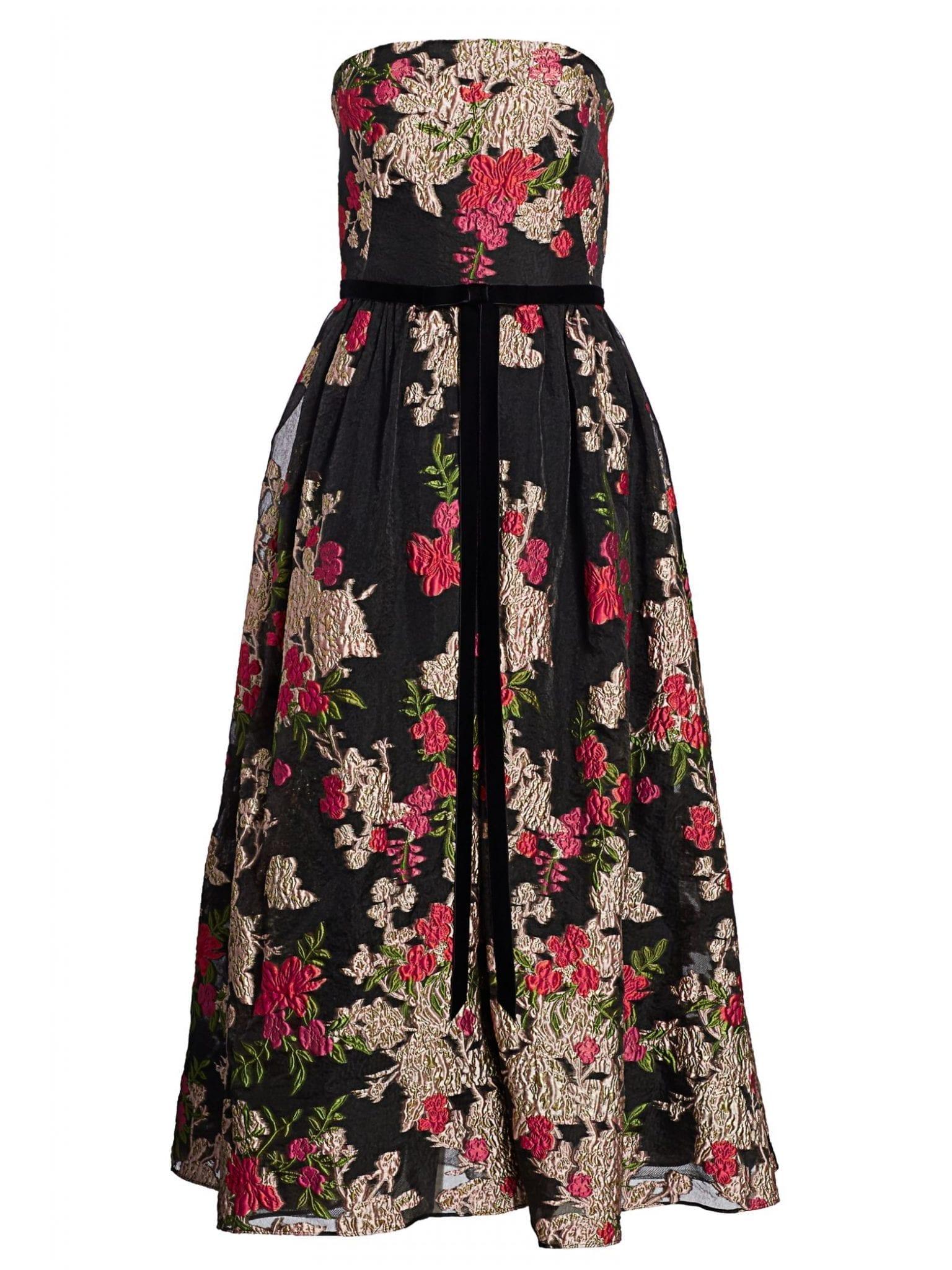 MARCHESA NOTTE Floral Cocktail Dress