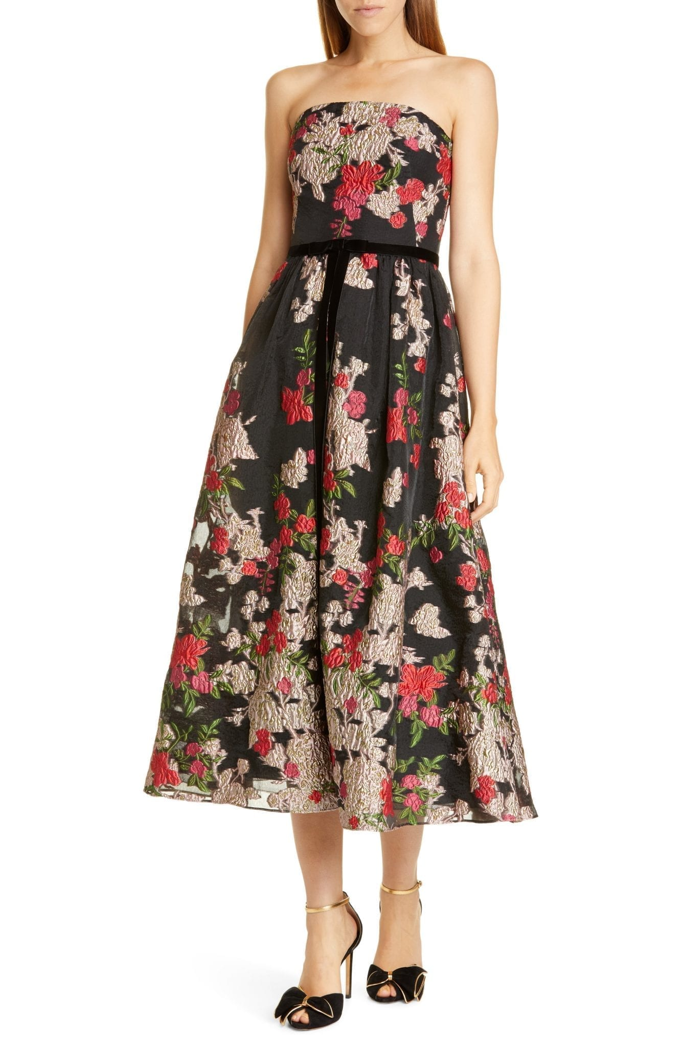 MARCHESA NOTTE Floral Embroidered Strapless Midi Dress