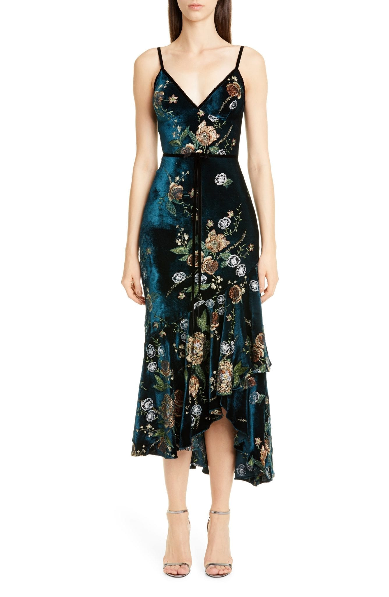 MARCHESA NOTTE Floral Embroidered Velvet High Low Dress