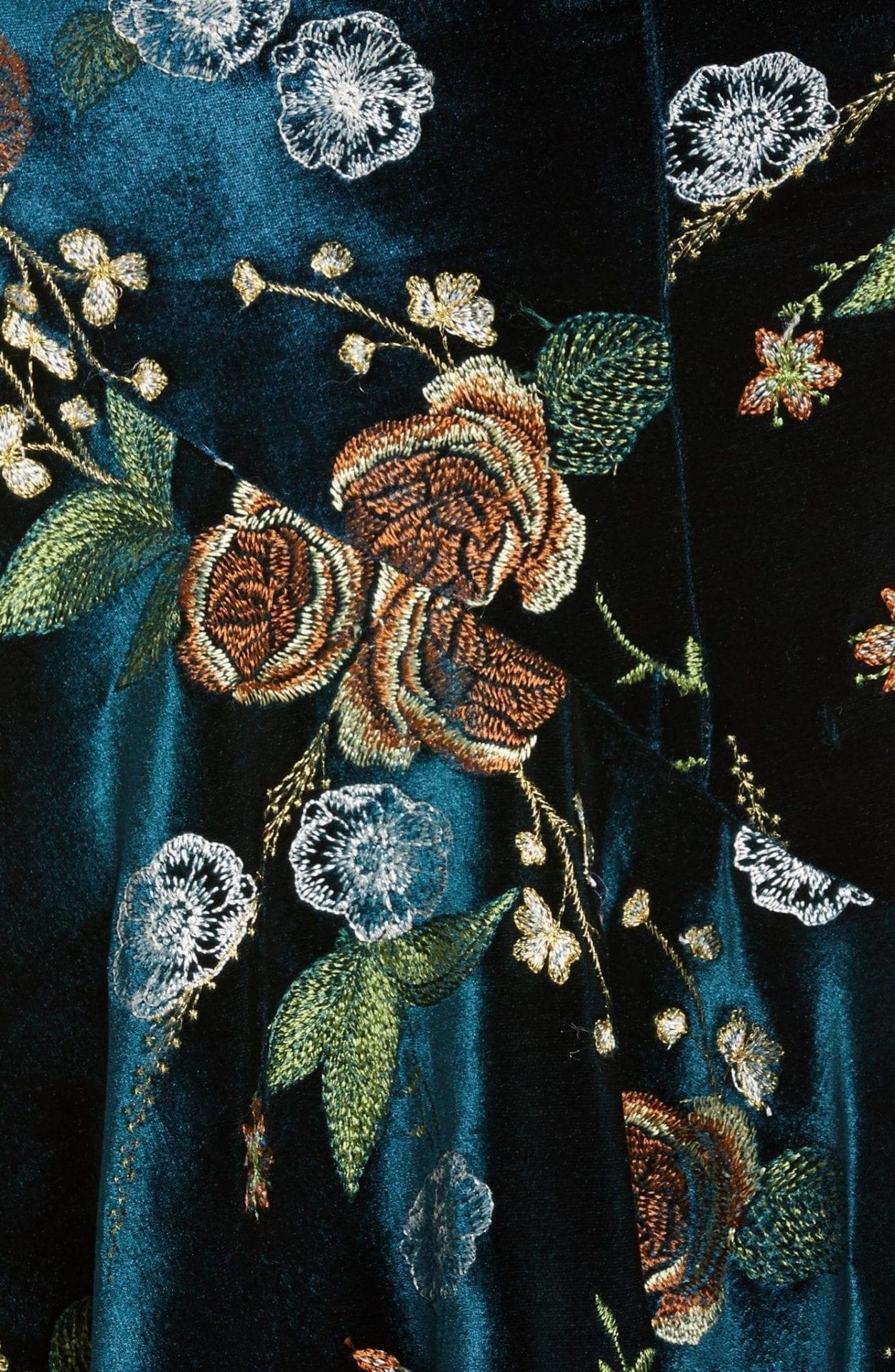 MARCHESA NOTTE Floral Embroidered Velvet High Low Dress