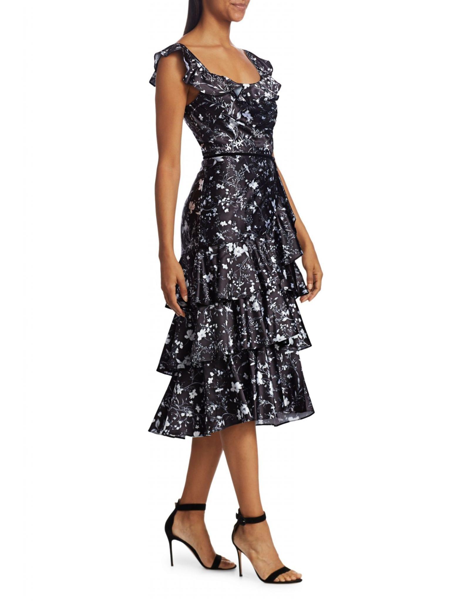 MARCHESA NOTTE Floral Flutter-Sleeve Ruffle Dress