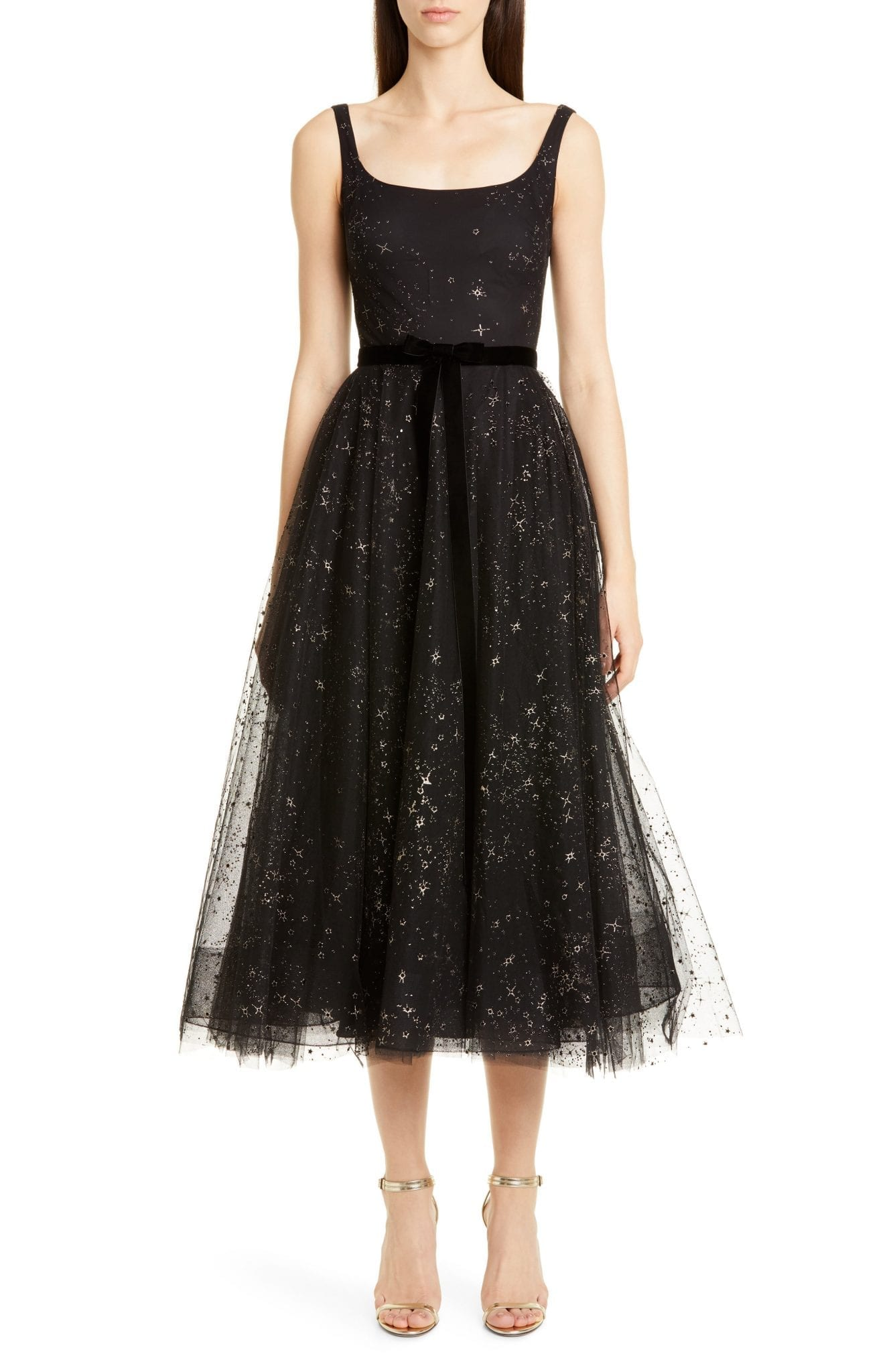 MARCHESA NOTTE Glitter Star Tulle Cocktail Dress
