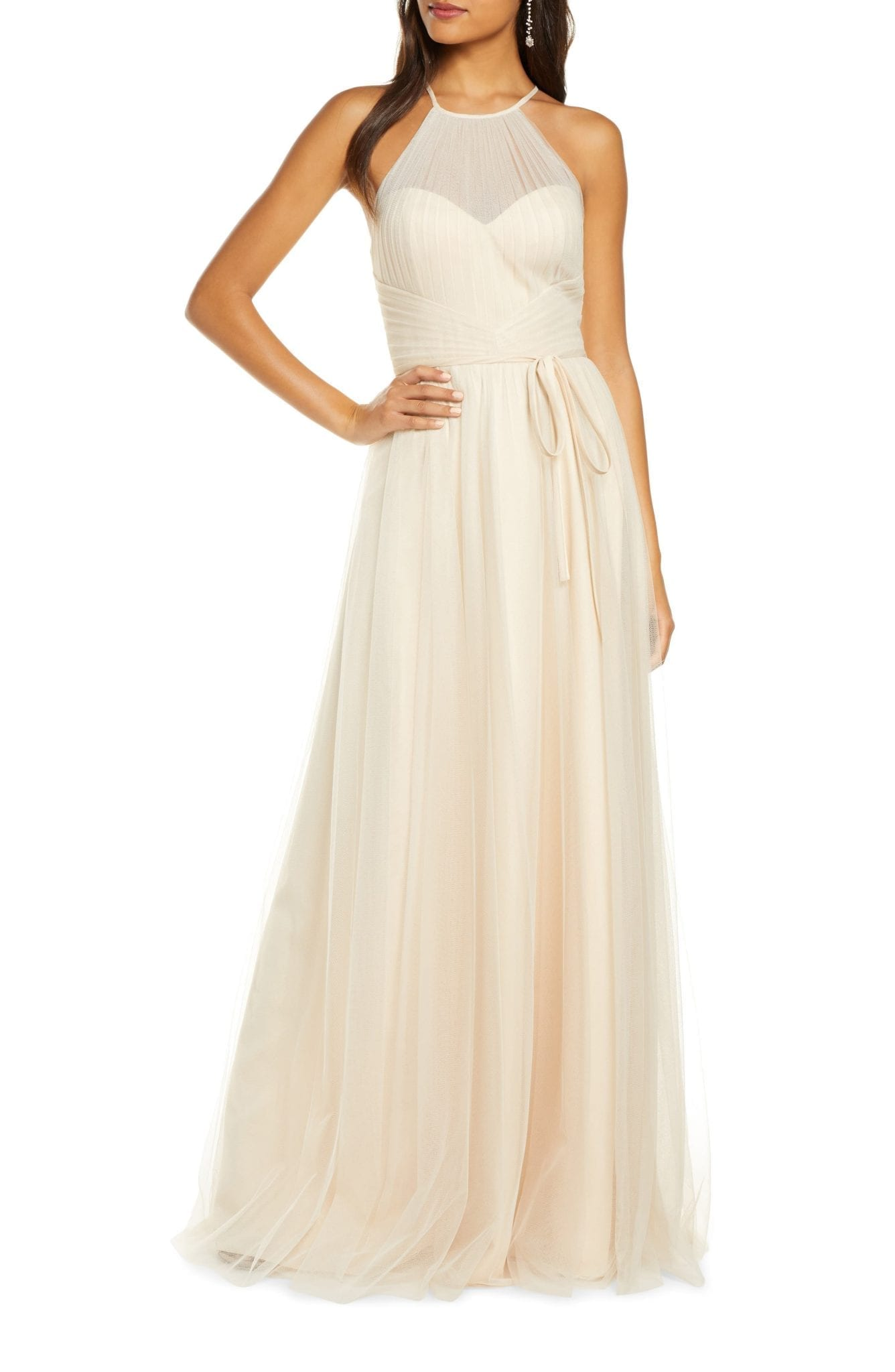 MARCHESA NOTTE Halter Tulle Bridesmaid Gown