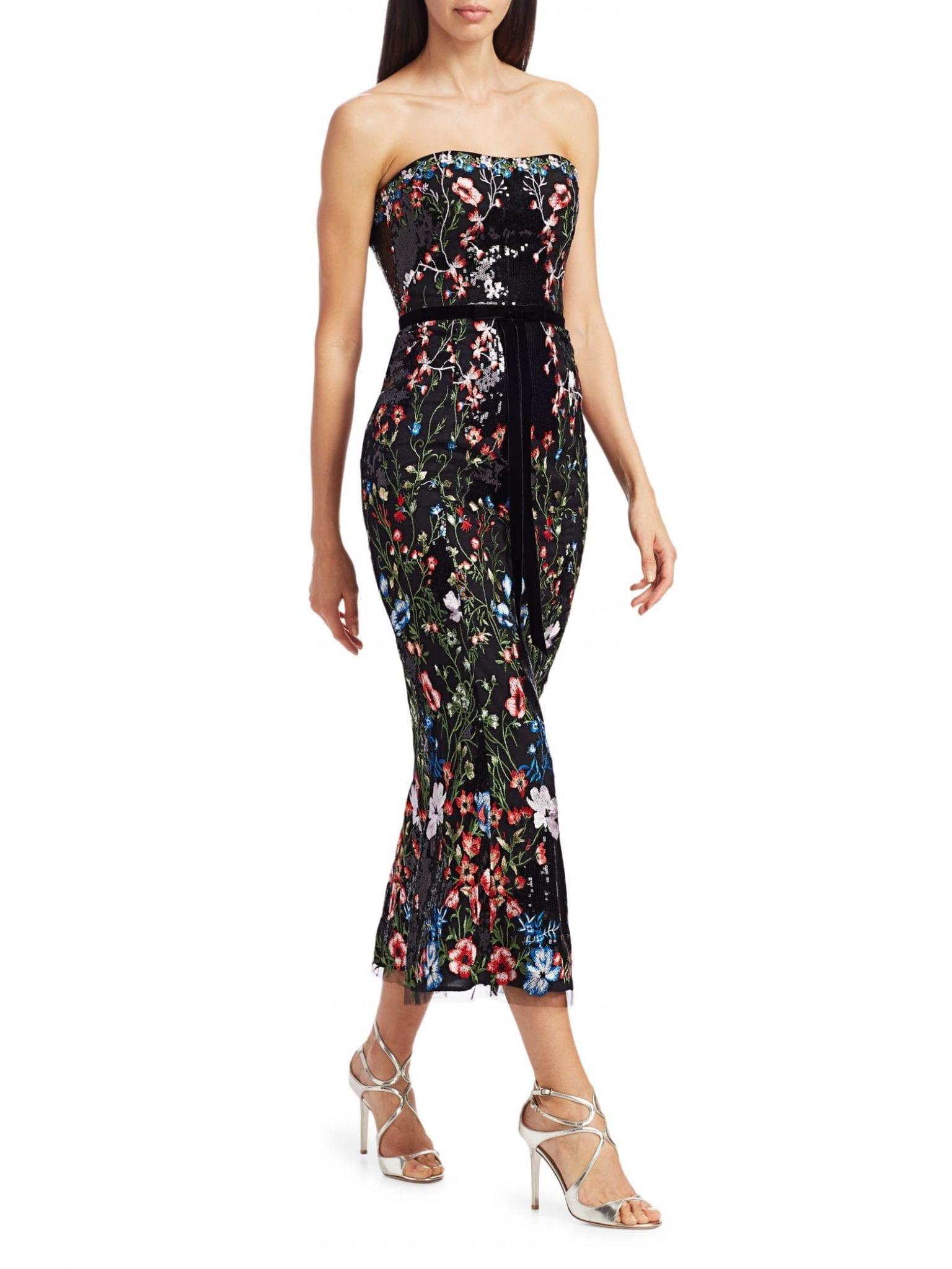 MARCHESA NOTTE Strapless Sequin Embellished Cocktail Dress