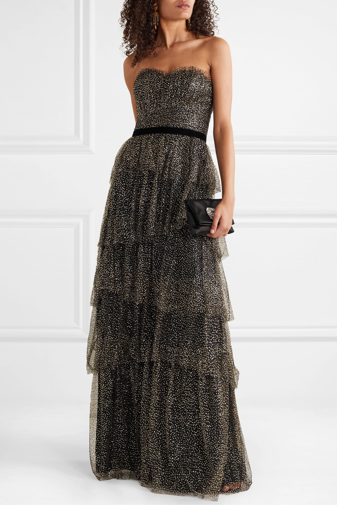 MARCHESA NOTTE Strapless Tiered Velvet-trimmed Glittered Tulle Gown