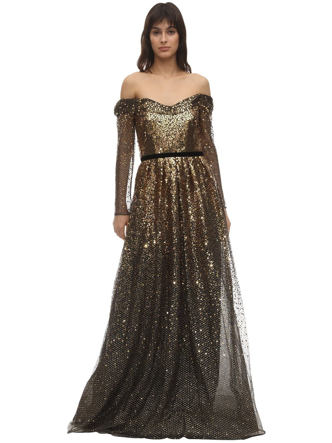MARCHESA NOTTE Velvet Ribbon Degradé Sequined Gown