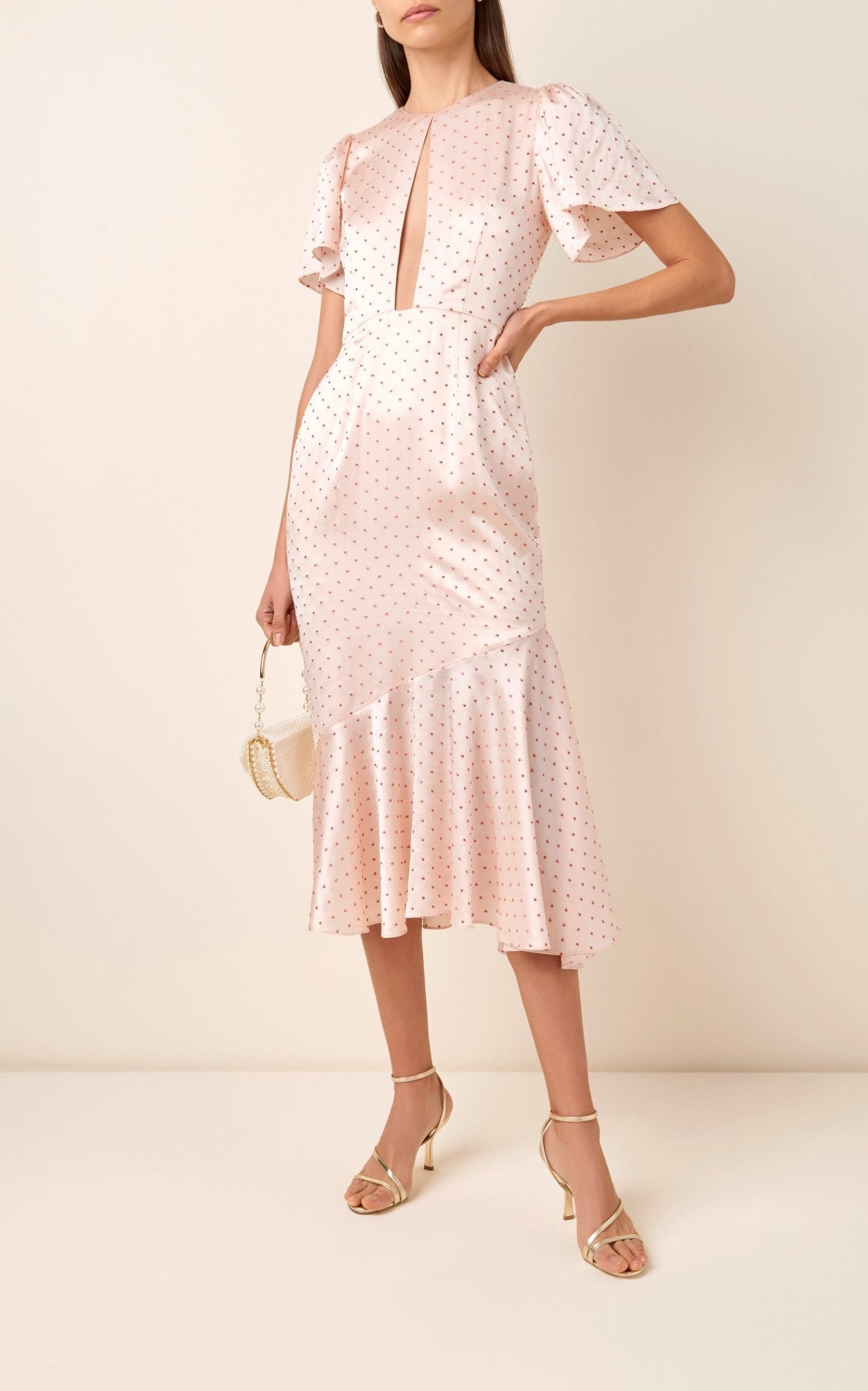 MARKARIAN Ingrid Polka-Dot Silk-Blend Satin Midi Dress
