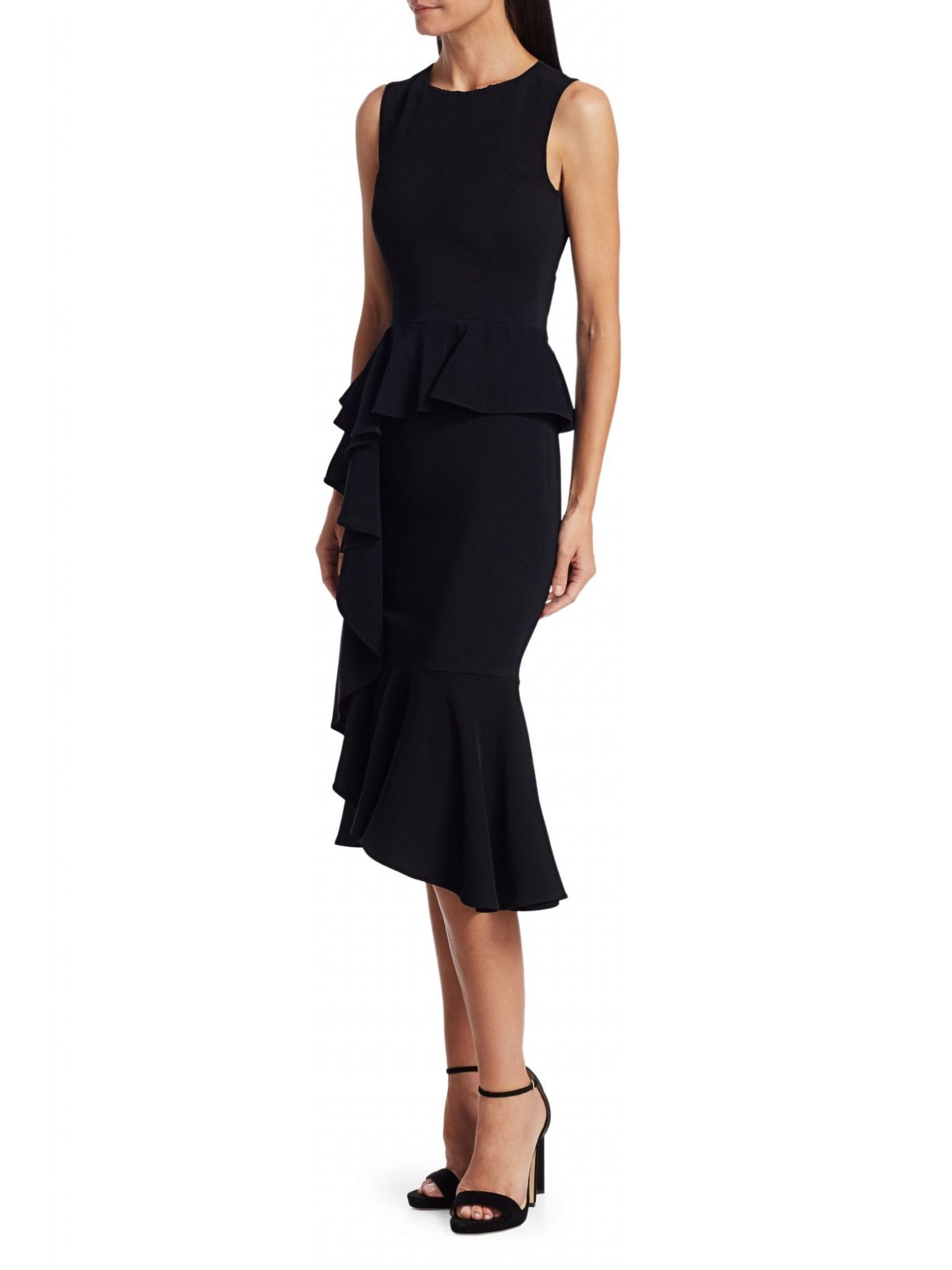 MICHAEL KORS COLLECTION Asymmetric Cascade Ruffle Sheath Dress
