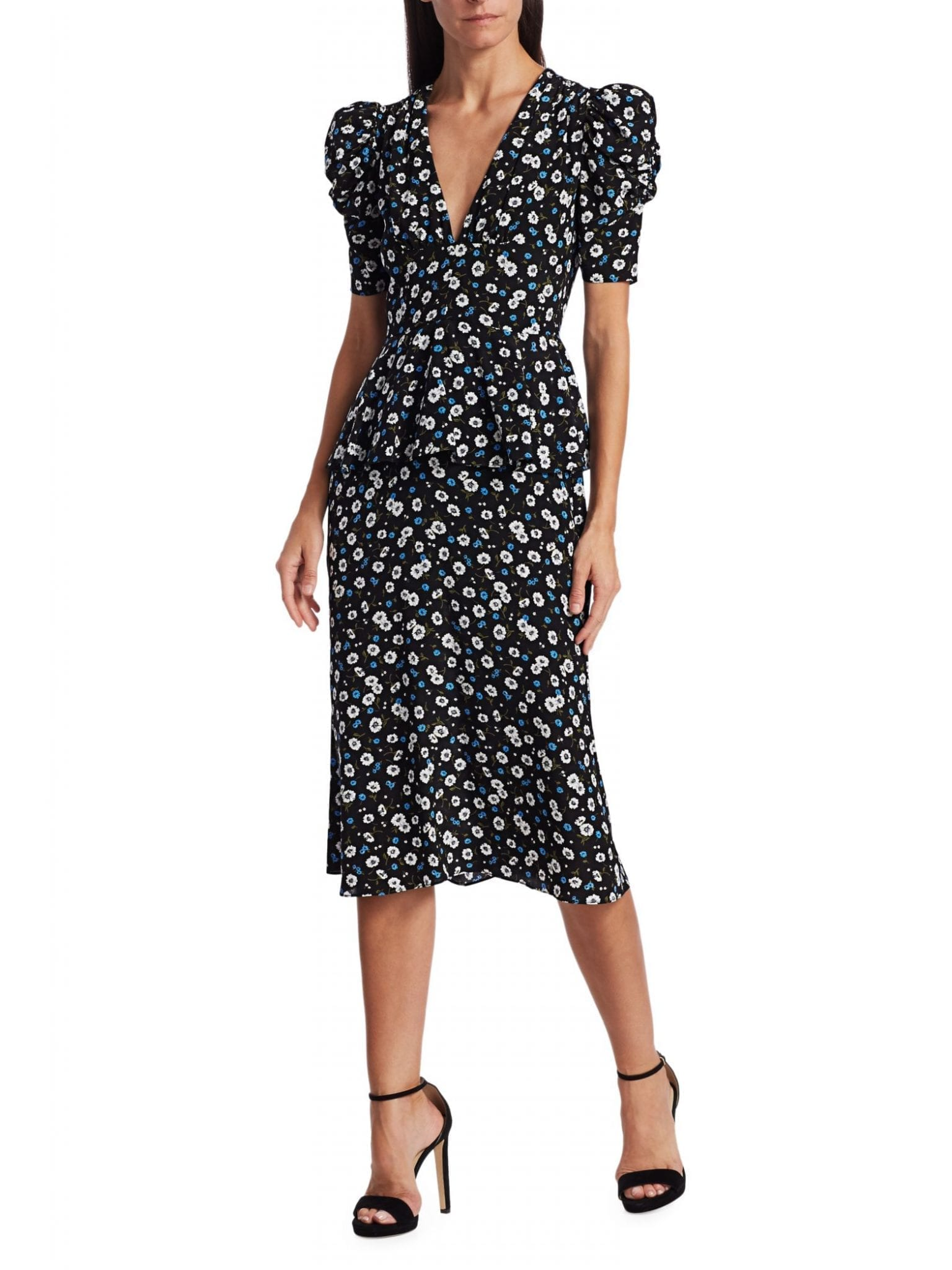 MICHAEL KORS COLLECTION Ruffle-Trimmed Floral Silk Dress