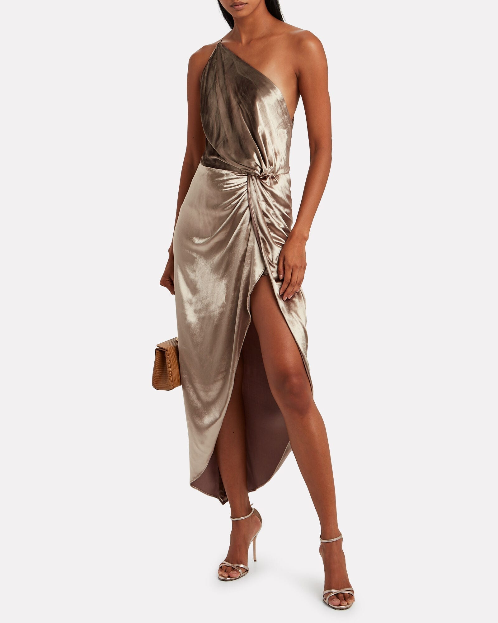 MICHELLE MASON Twisted Velvet One-Shoulder Dress