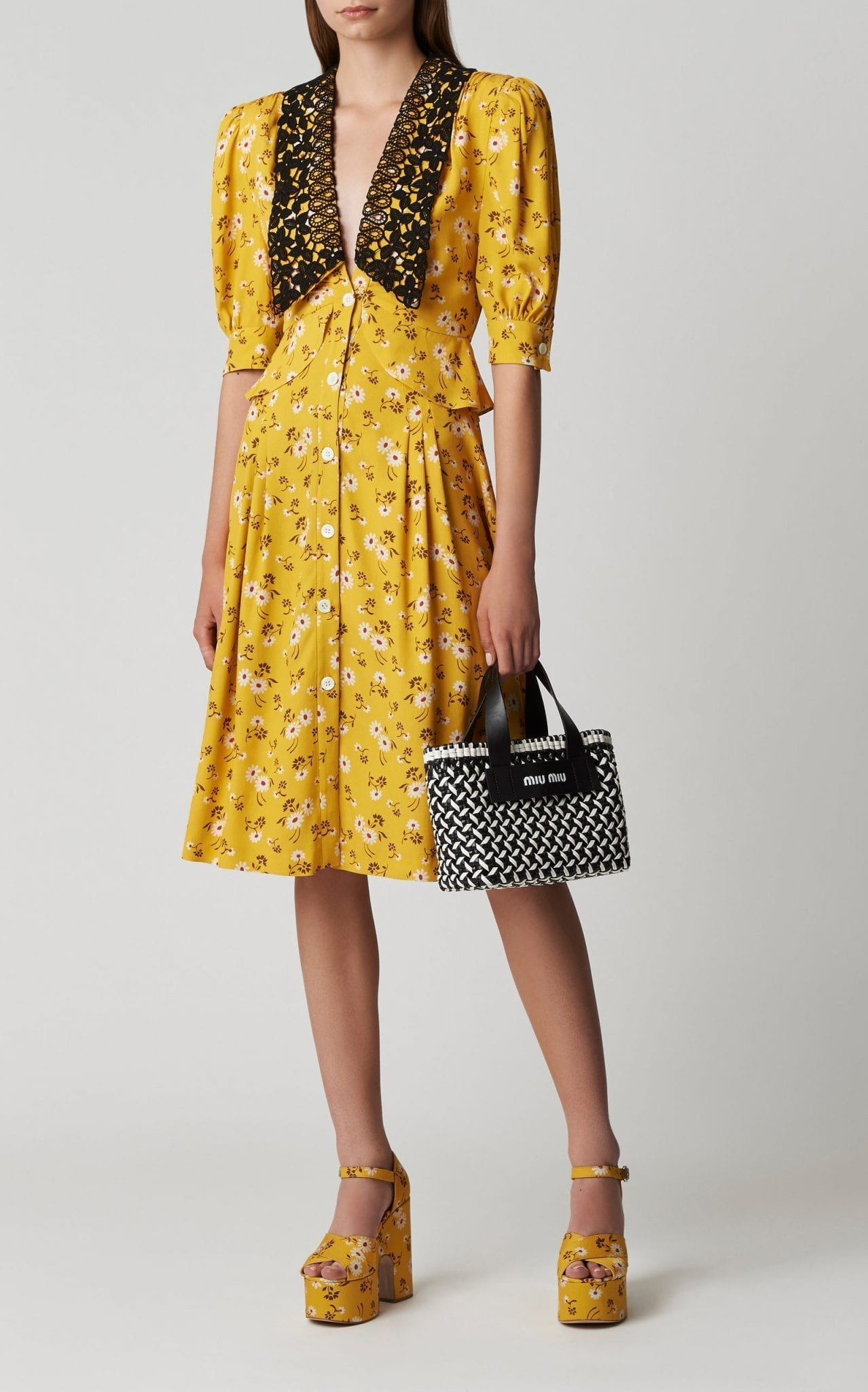 MIU MIU Printed Peplum Midi Dress