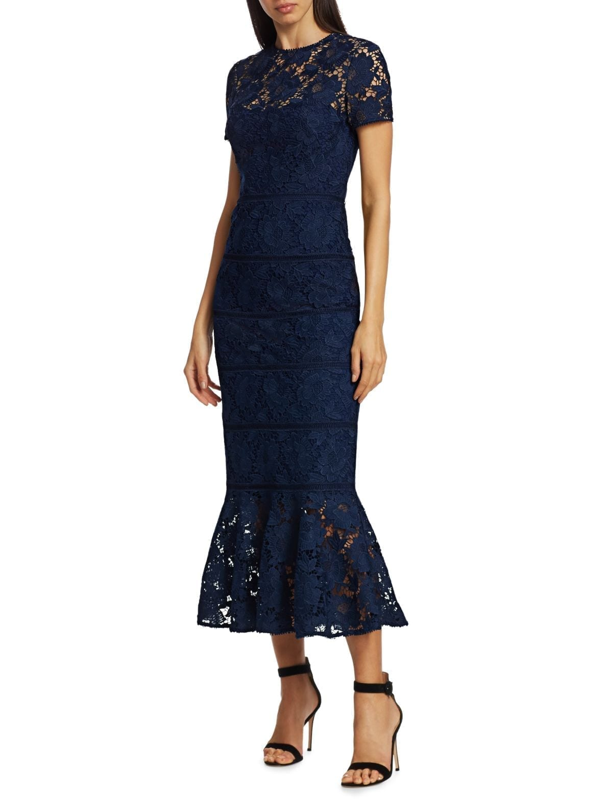 ML MONIQUE LHUILLIER Fluted Lace Midi Dress