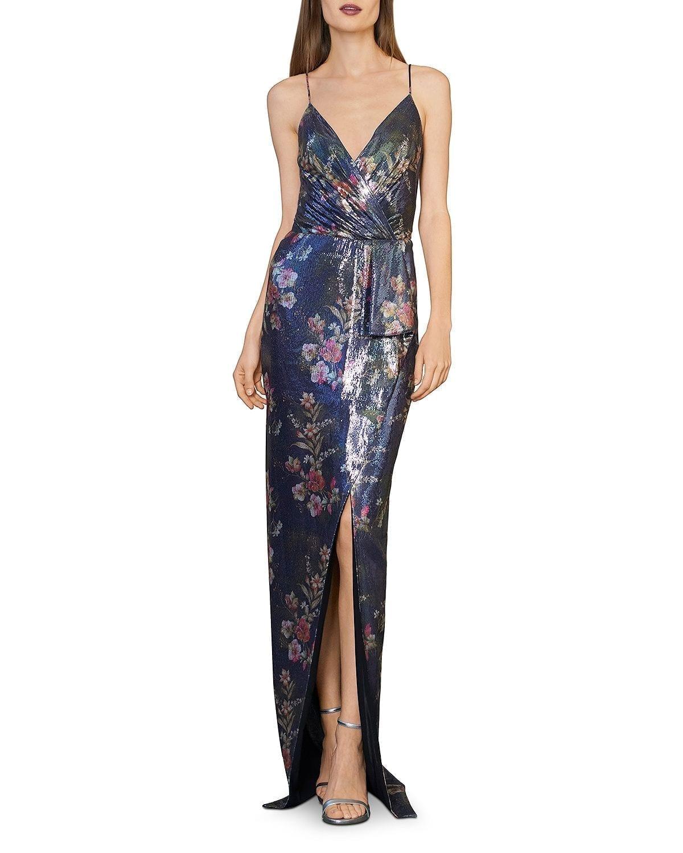 ML MONIQUE LHUILLIER Sequined Floral Gown