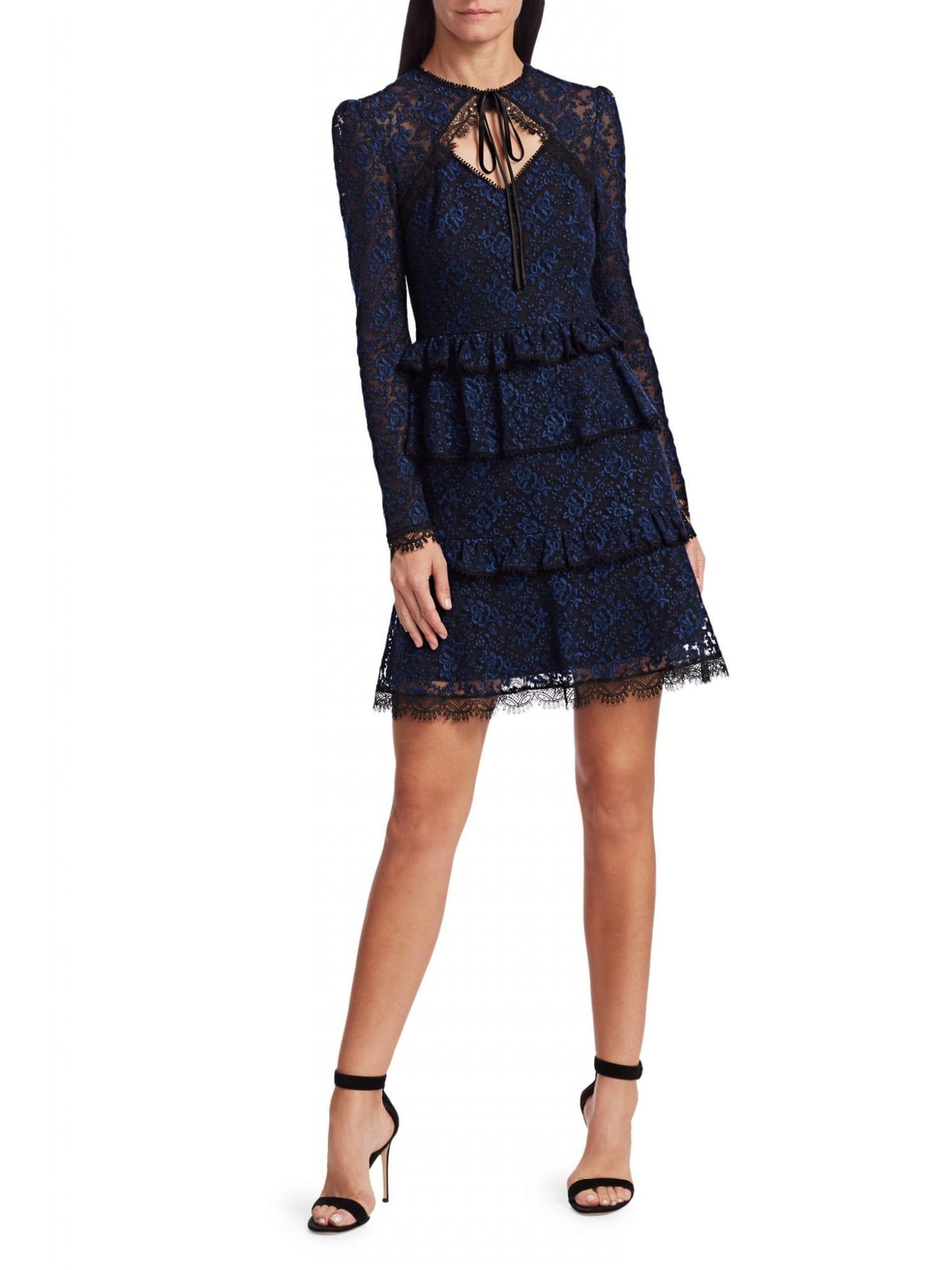 ML MONIQUE LHUILLIER Tie-Neck Lace Dress