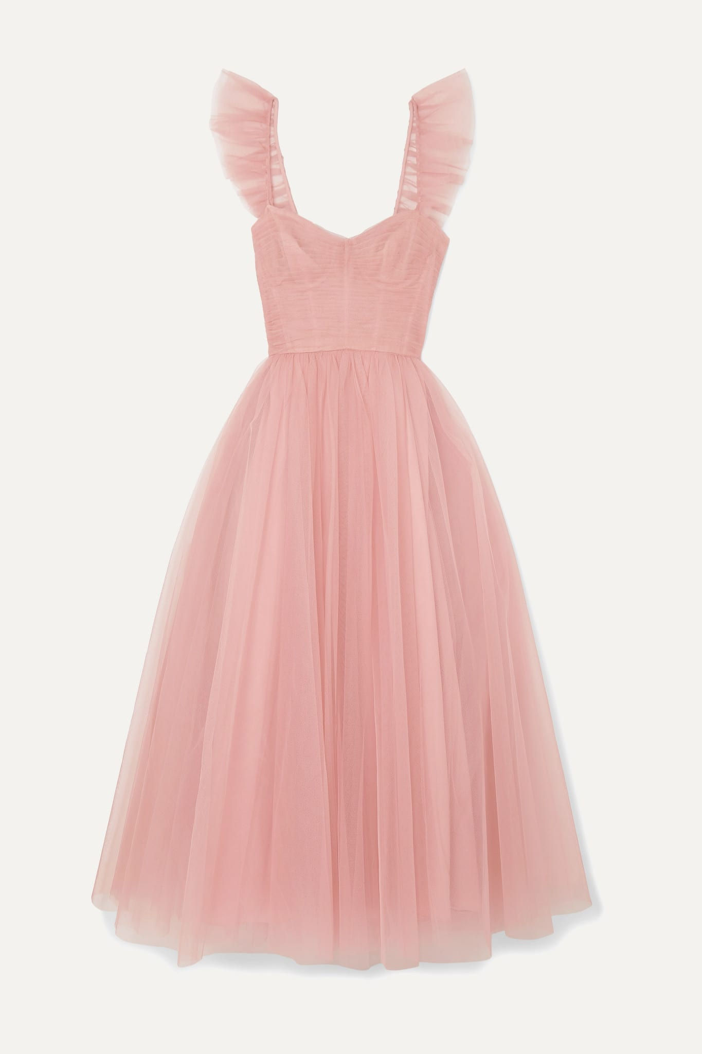 MONIQUE LHUILLIER Ruffled Ruched Tulle And Silk Crepe De Chine Gown