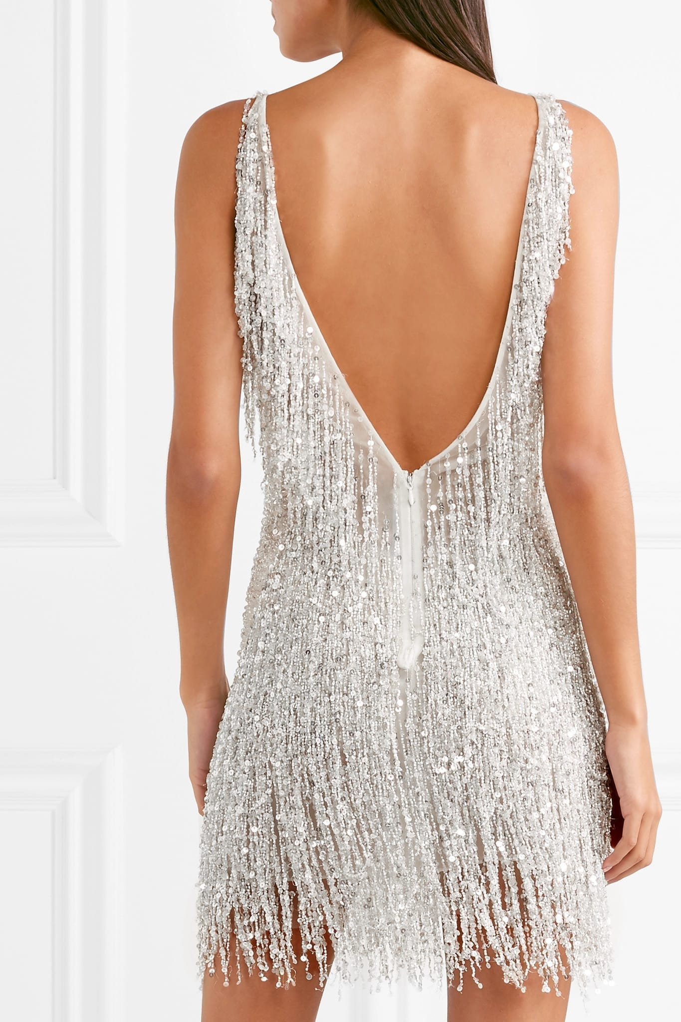 NAEEM KHAN Gatsby Embellished Chiffon Mini Dress