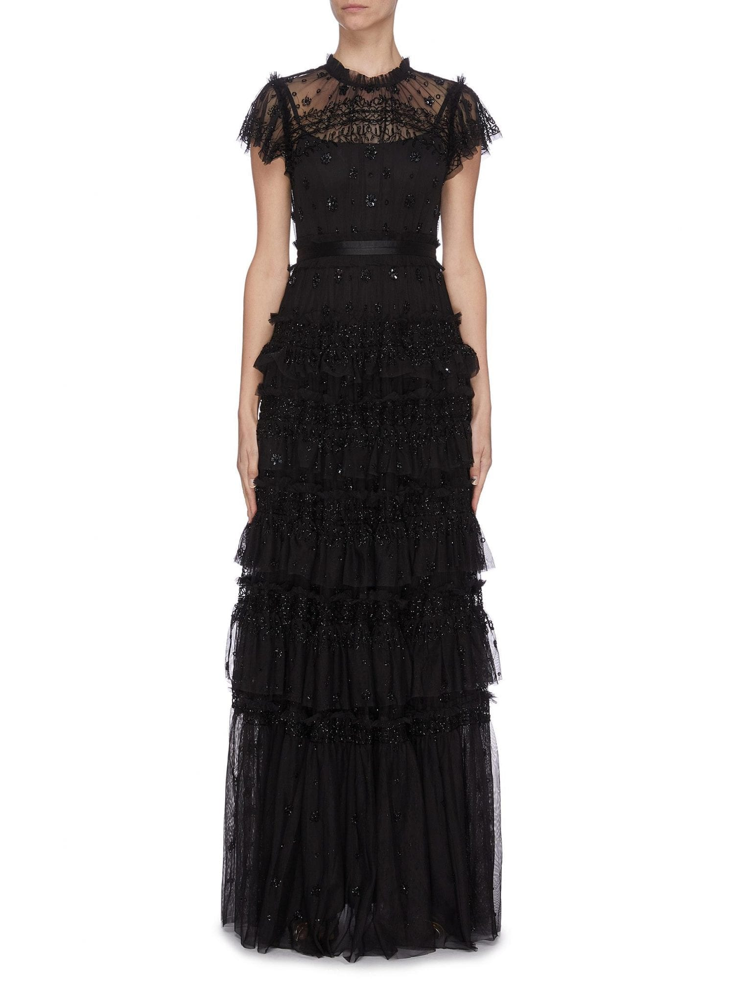 NEEDLE & THREAD 'Andromeda' Sequin Embellished Lace Trim Ruffle Tiered Tulle Gown
