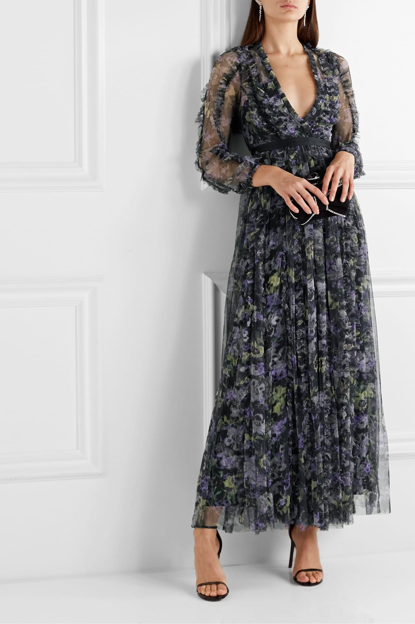 NEEDLE & THREAD Grosgrain-trimmed Ruffled Floral-print Tulle Gown
