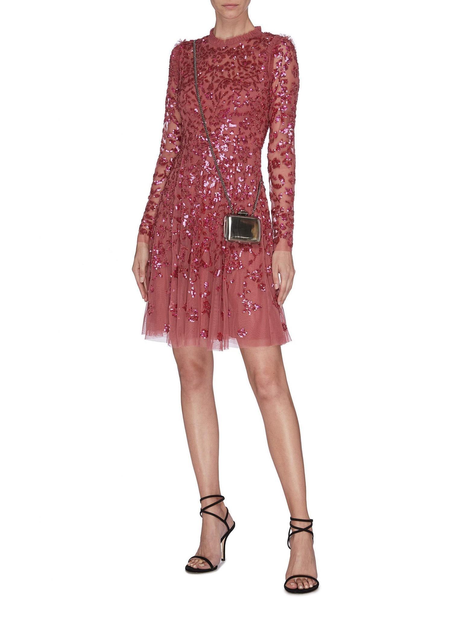 NEEDLE & THREAD 'Rosmund' Sequin Embroidered Floral Sheer Tulle Dress