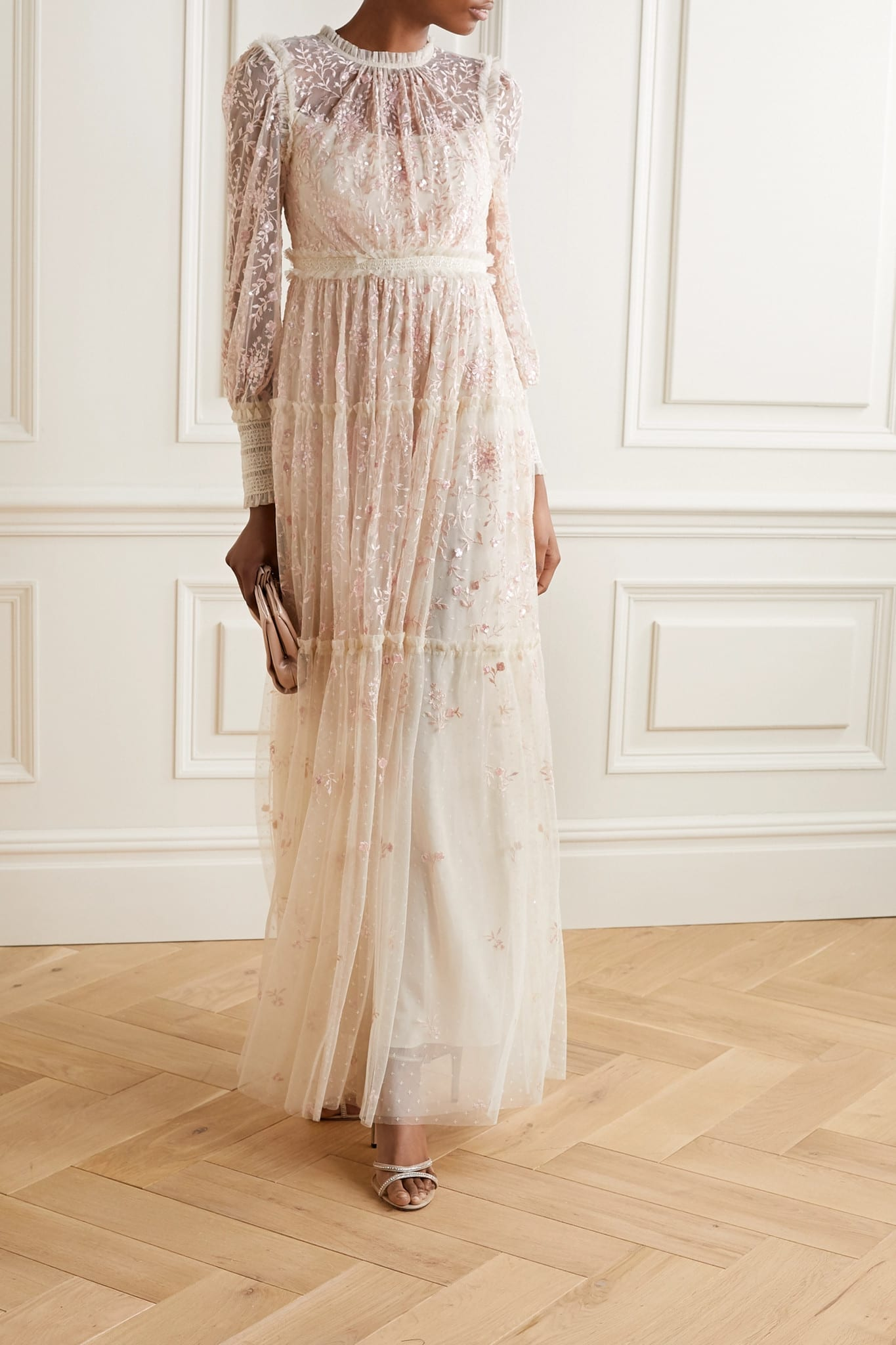 NEEDLE & THREAD Whitethorn Sequined Embroidered Tulle Gown