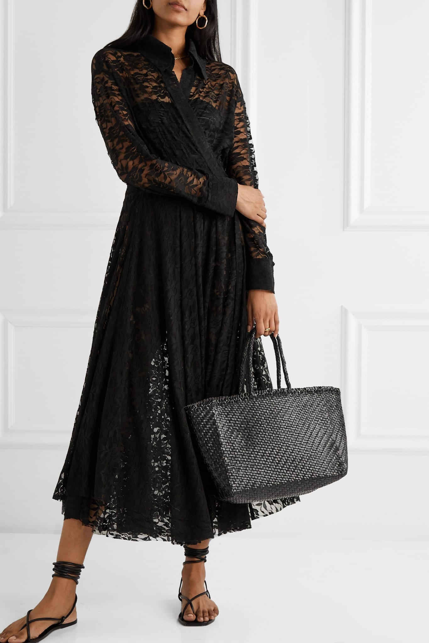 NORMA KAMALI Pleated Stretch-lace Midi Dress