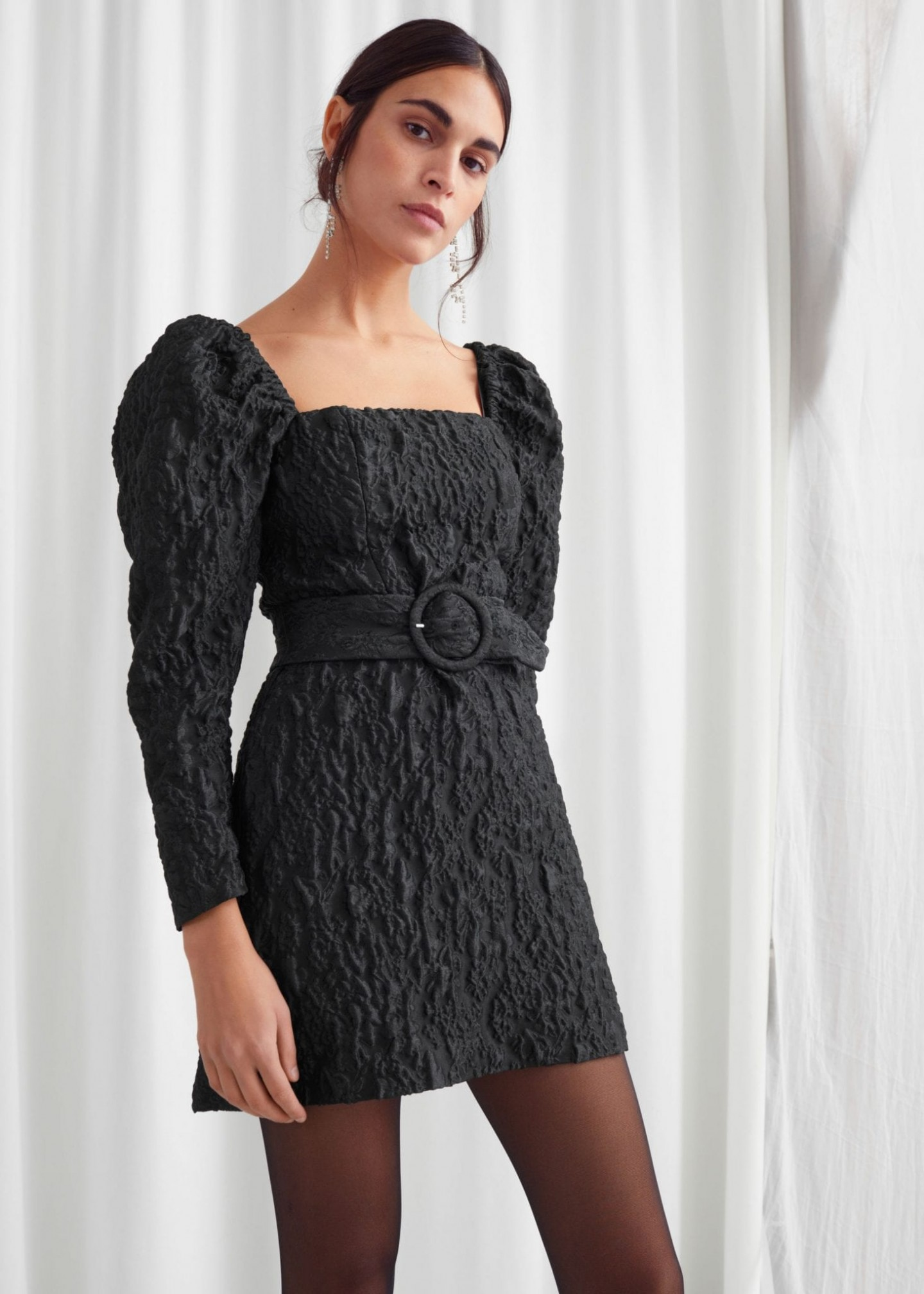 & OTHER STORIES Belted Puff Sleeve Jacquard Mini Dress