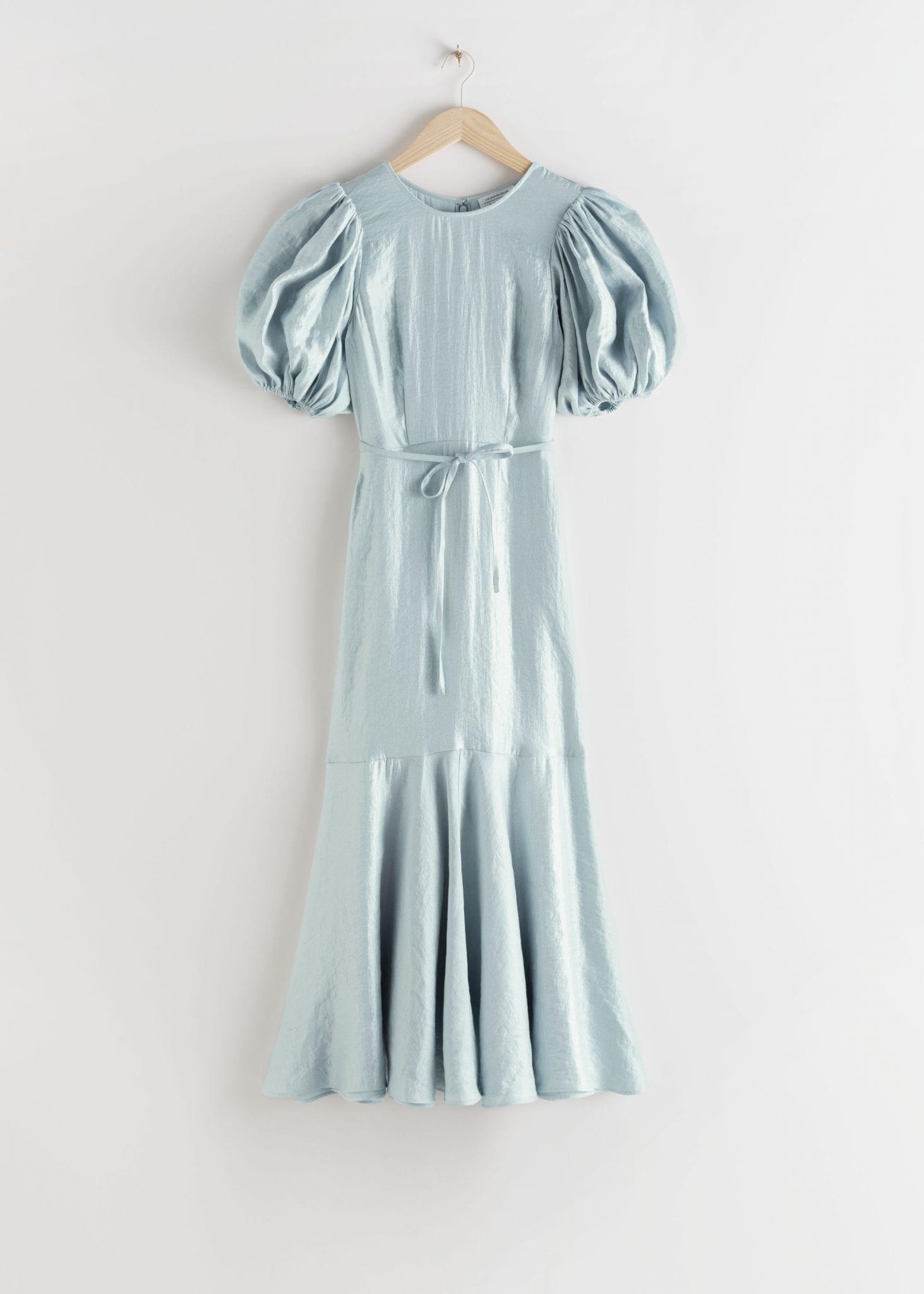 & OTHER STORIES Metallic Crepe Puff Sleeve Midi Dress