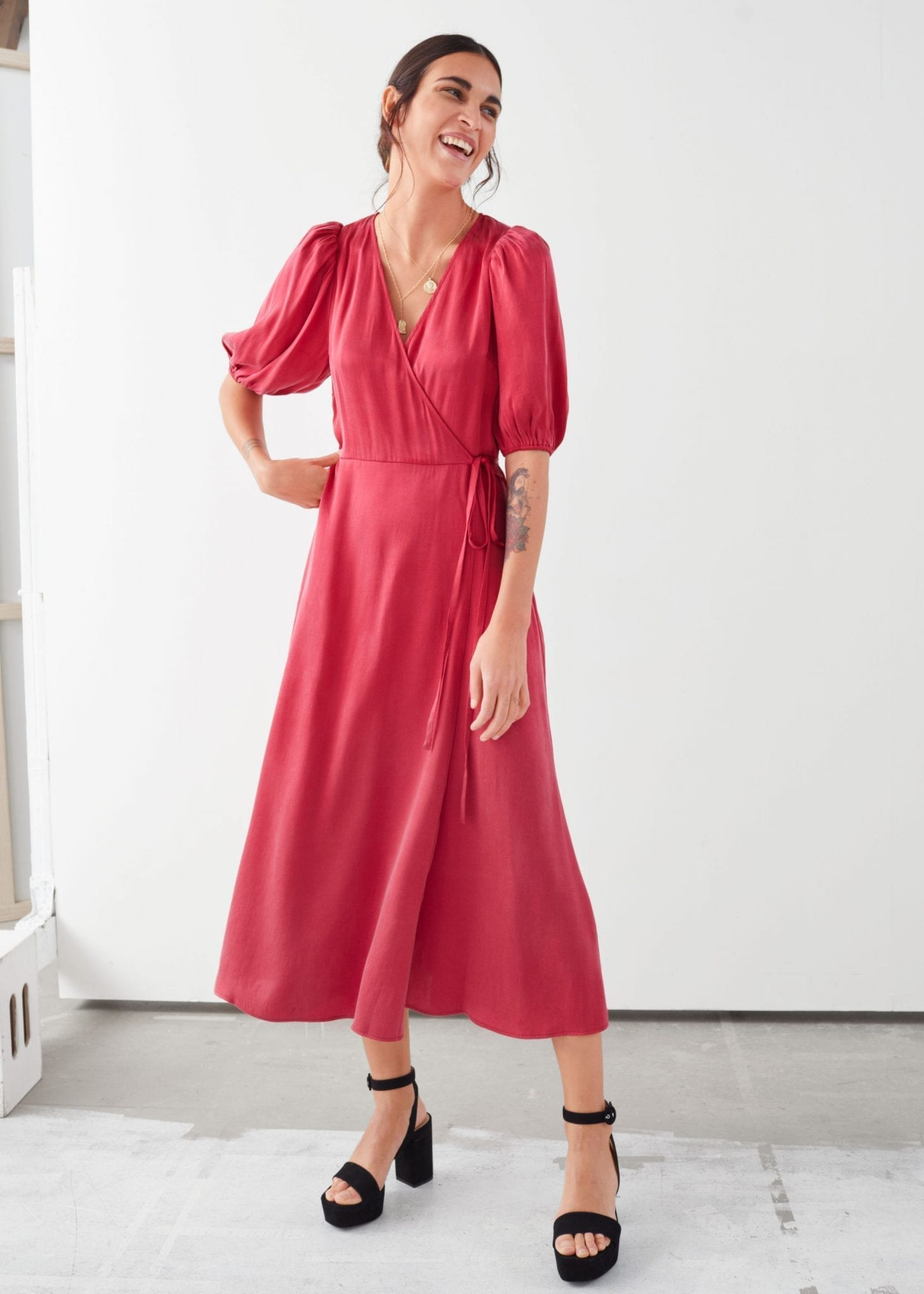 & OTHER STORIES Puff Sleeve Maxi Wrap Dress