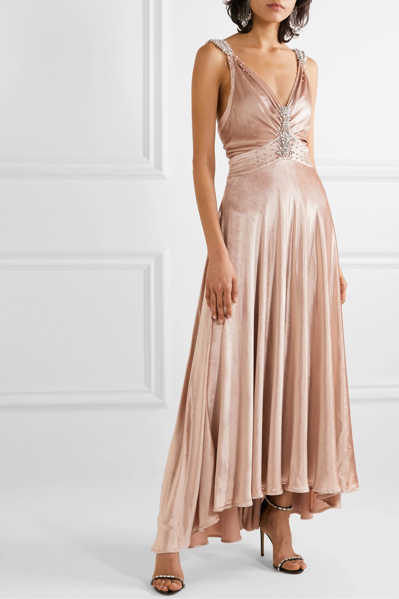 PACO RABANNE Crystal-embellished Ruched Velvet Gown