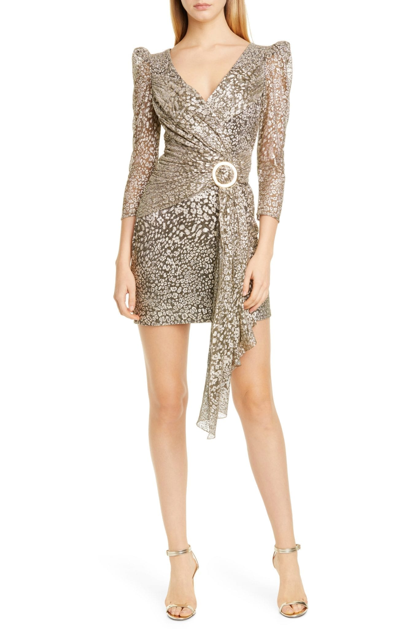 PATBO Metallic Leopard Spot Cocktail Mini Dress