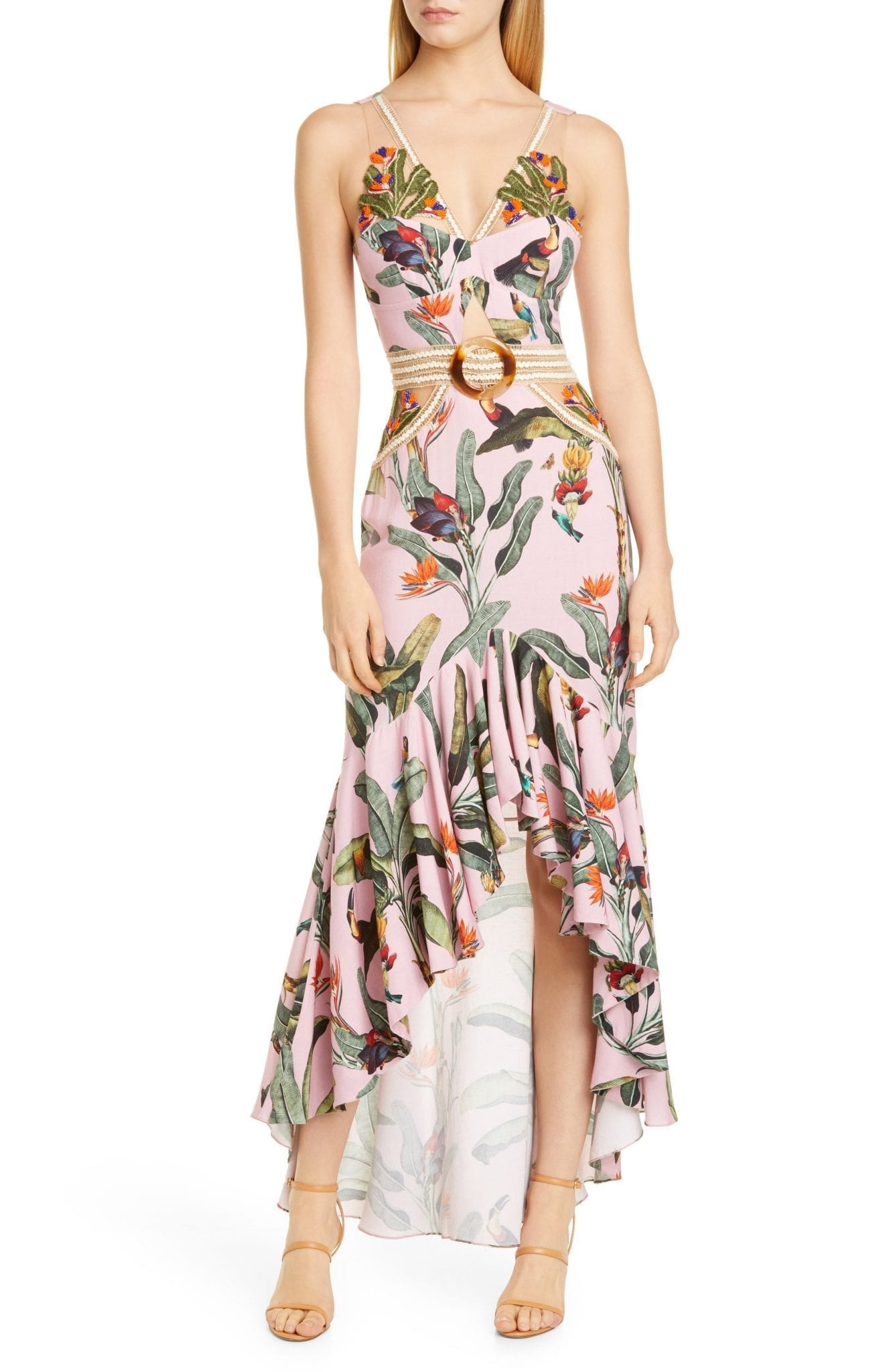 PATBO Tropical Cutout High Low Gown