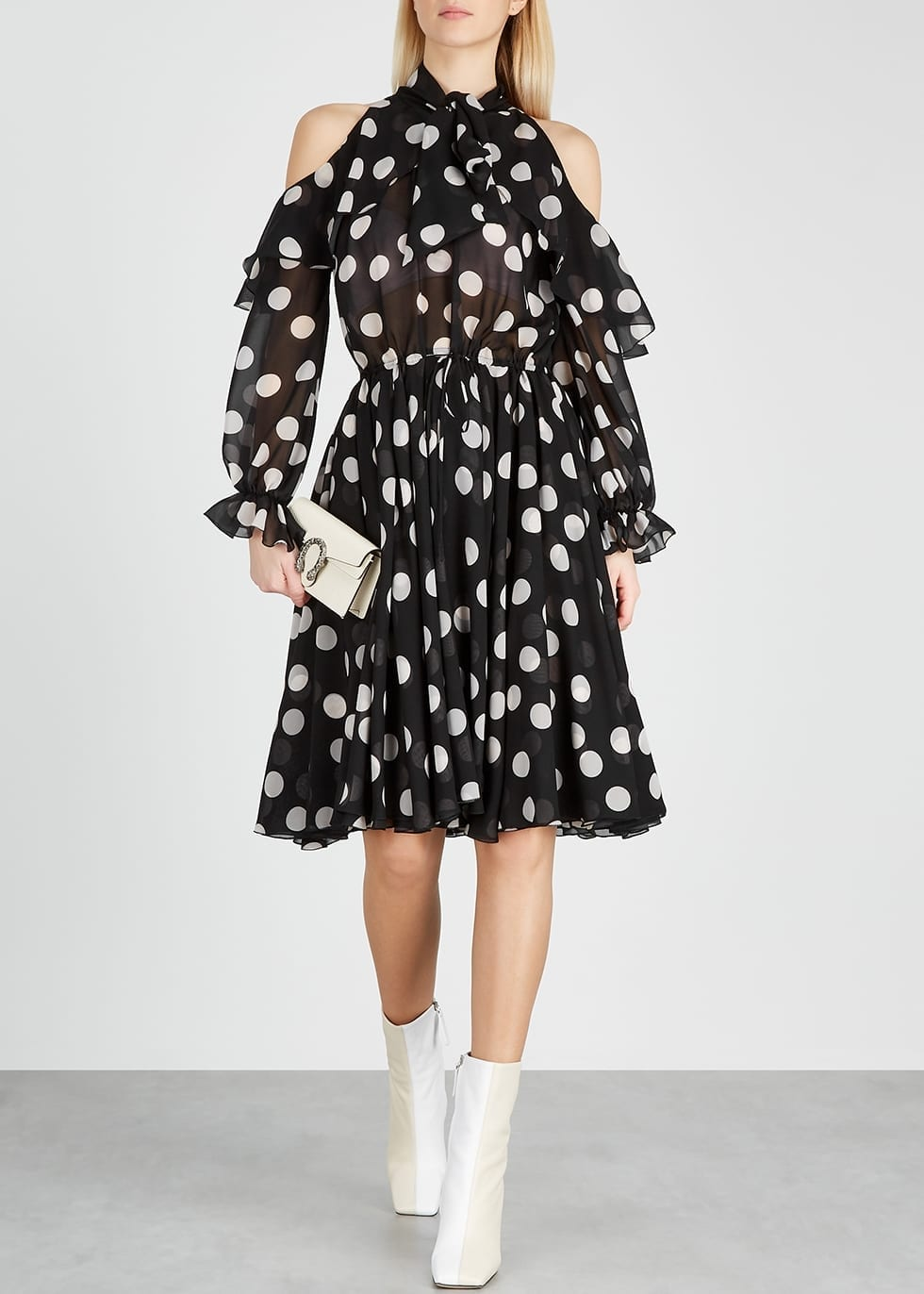 PAULE KA Polka-Dot Cut-Out Midi Dress