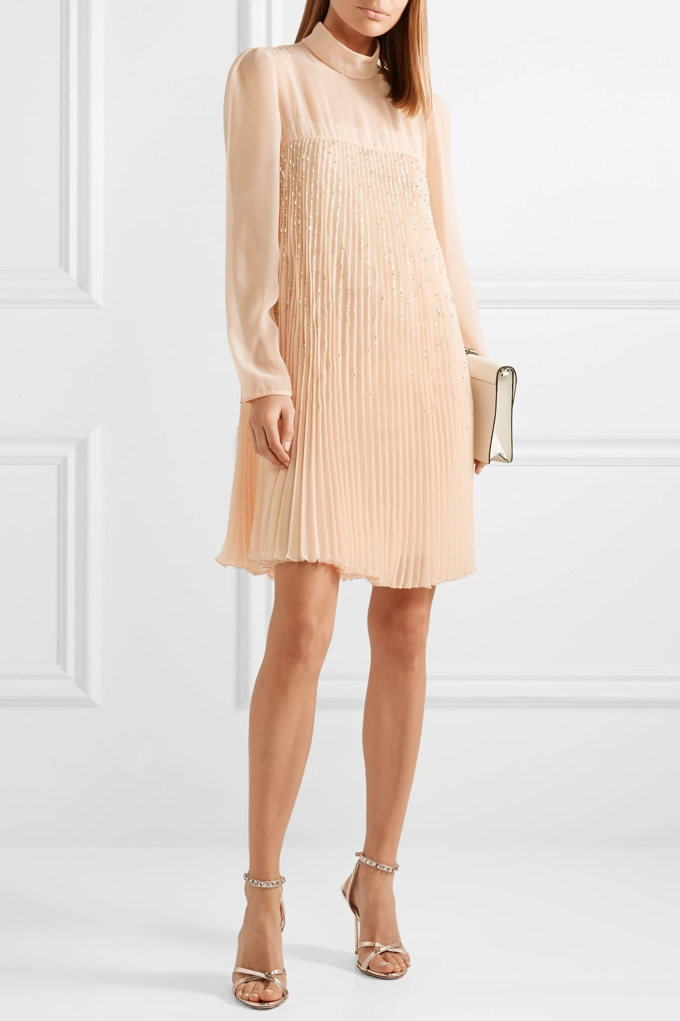 PRADA Crystal-embellished Plissé-georgette Mini Dress