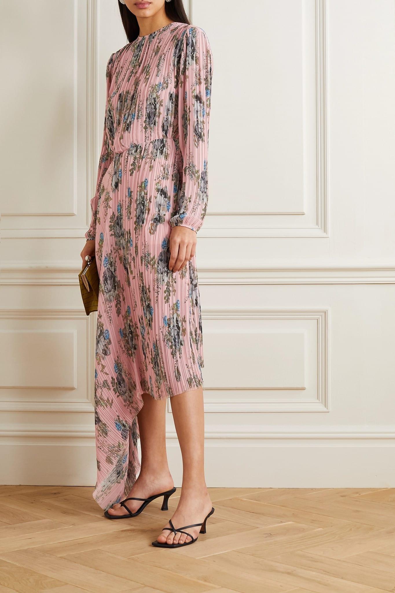 PREEN BY THORNTON BREGAZZI Delaney Asymmetric Floral-print Plissé-georgette Dress