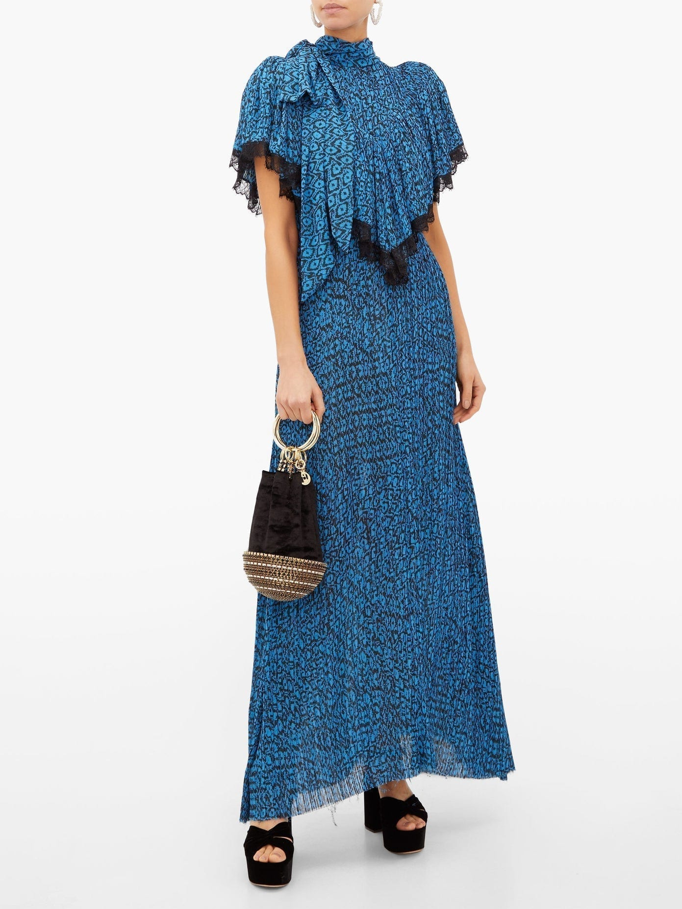 PREEN BY THORNTON BREGAZZI Epaine Abstract-print Plissé-chiffon Maxi Dress