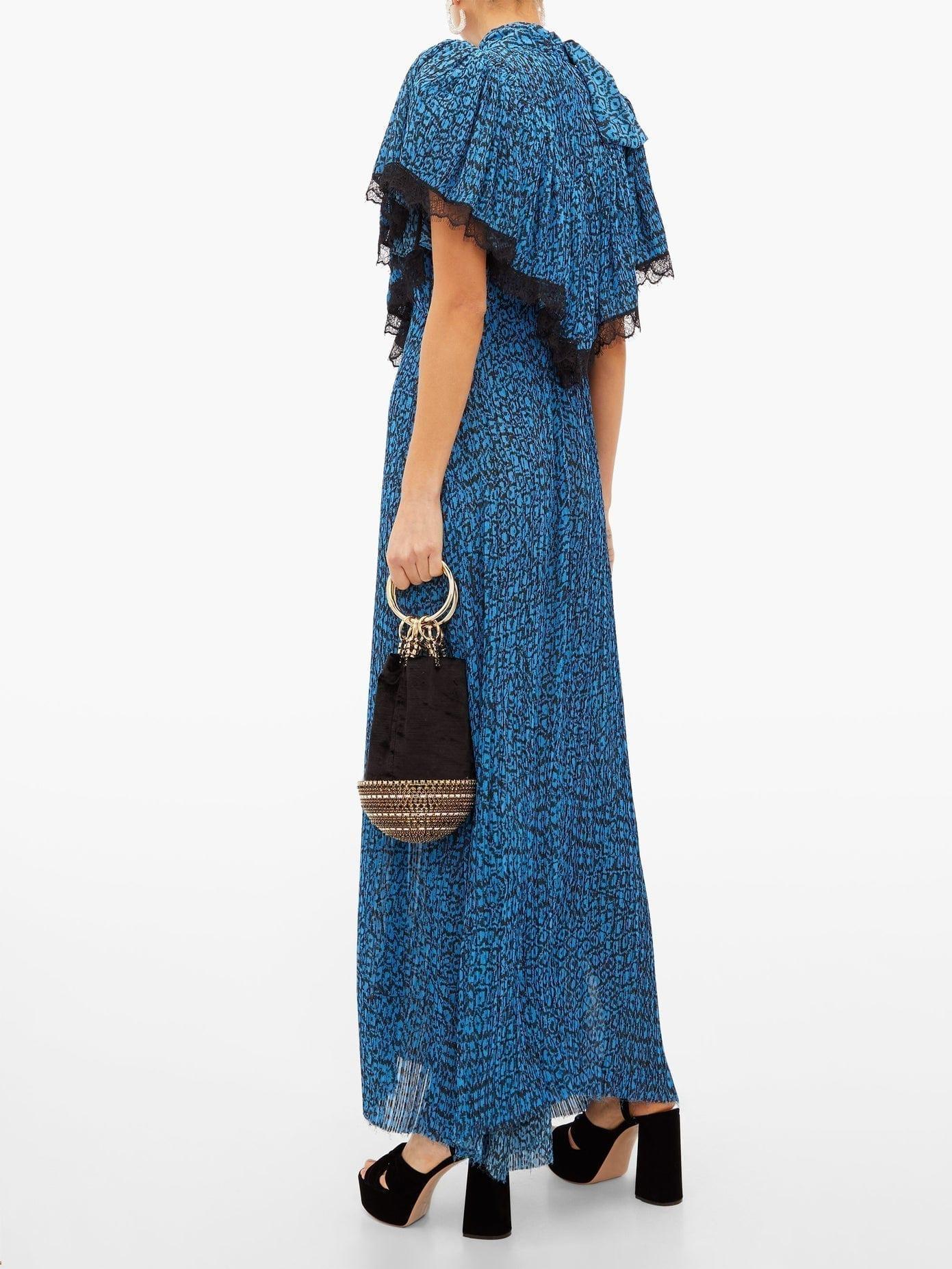 PREEN BY THORNTON BREGAZZI Epaine Abstract-print Plissé-chiffon Maxi Dress