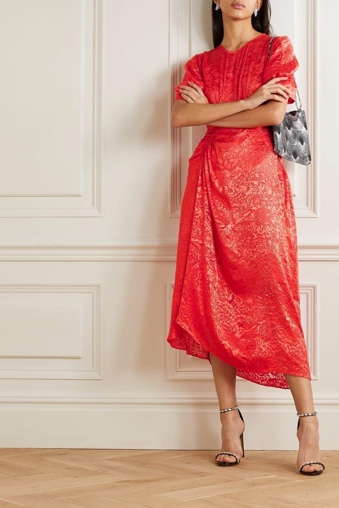 PREEN BY THORNTON BREGAZZI Lally Ruched Devoré-satin Midi Dress