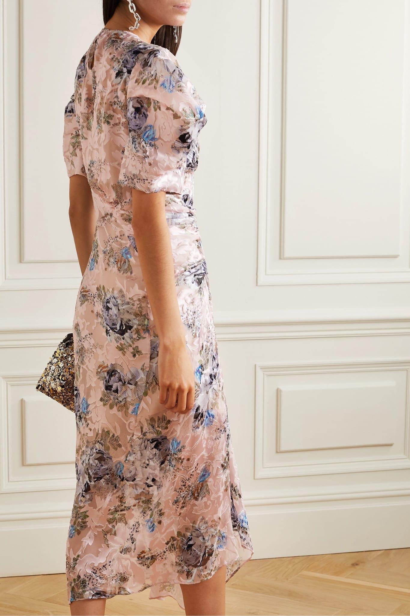 PREEN BY THORNTON BREGAZZI Pippa Ruched Floral-print Devoré-satin Midi Dress