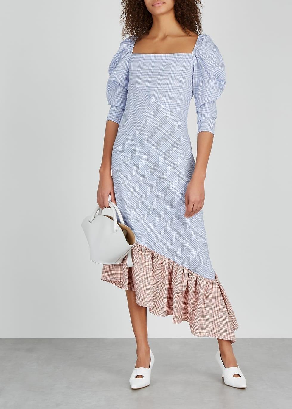 PUSHBUTTON Blue Gingham Seersucker Midi Dress